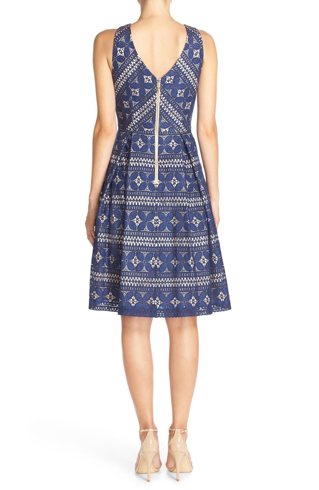 Lace Fit & Flare Dress,                             Alternate thumbnail 6, color,                             422