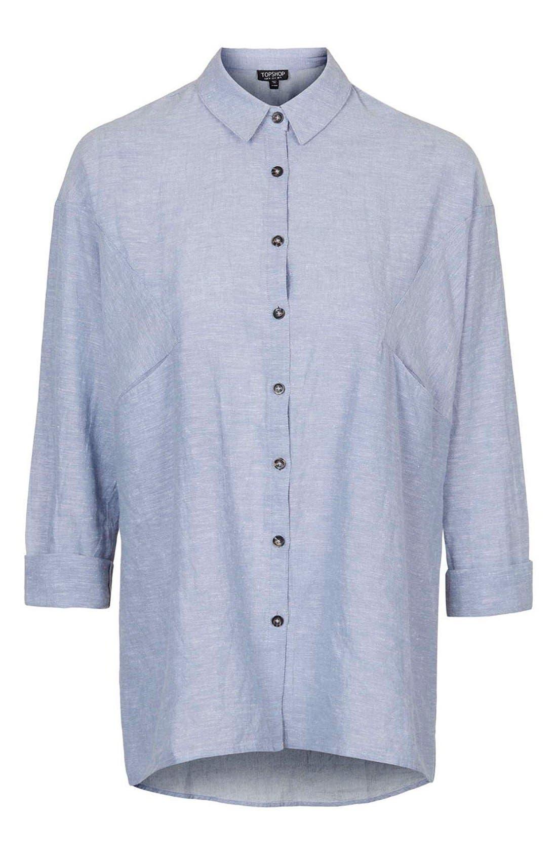 'Ivy' Oversize Chambray Shirt,                             Alternate thumbnail 4, color,