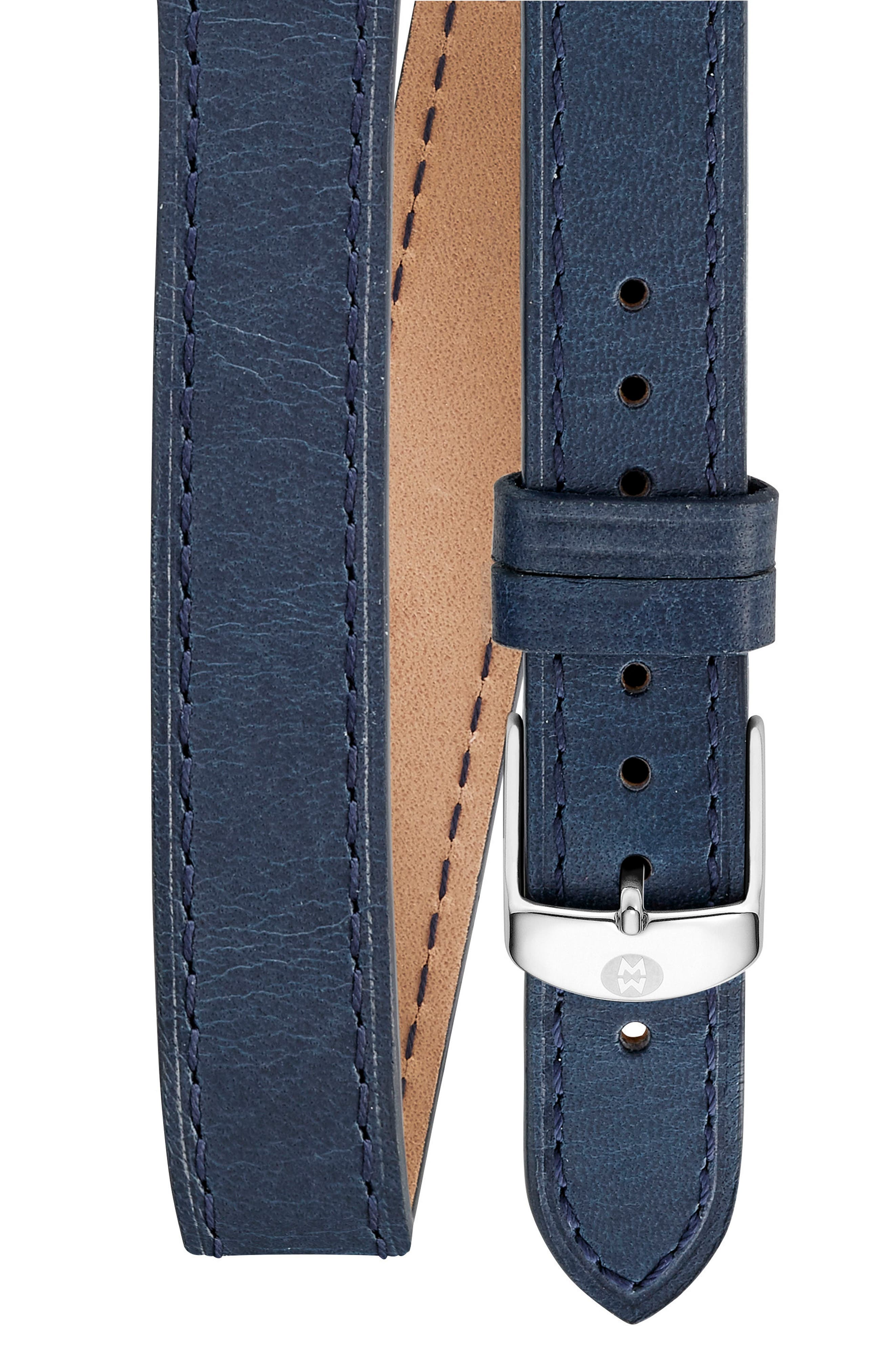 16mm Leather Watch Strap,                         Main,                         color, NAVY