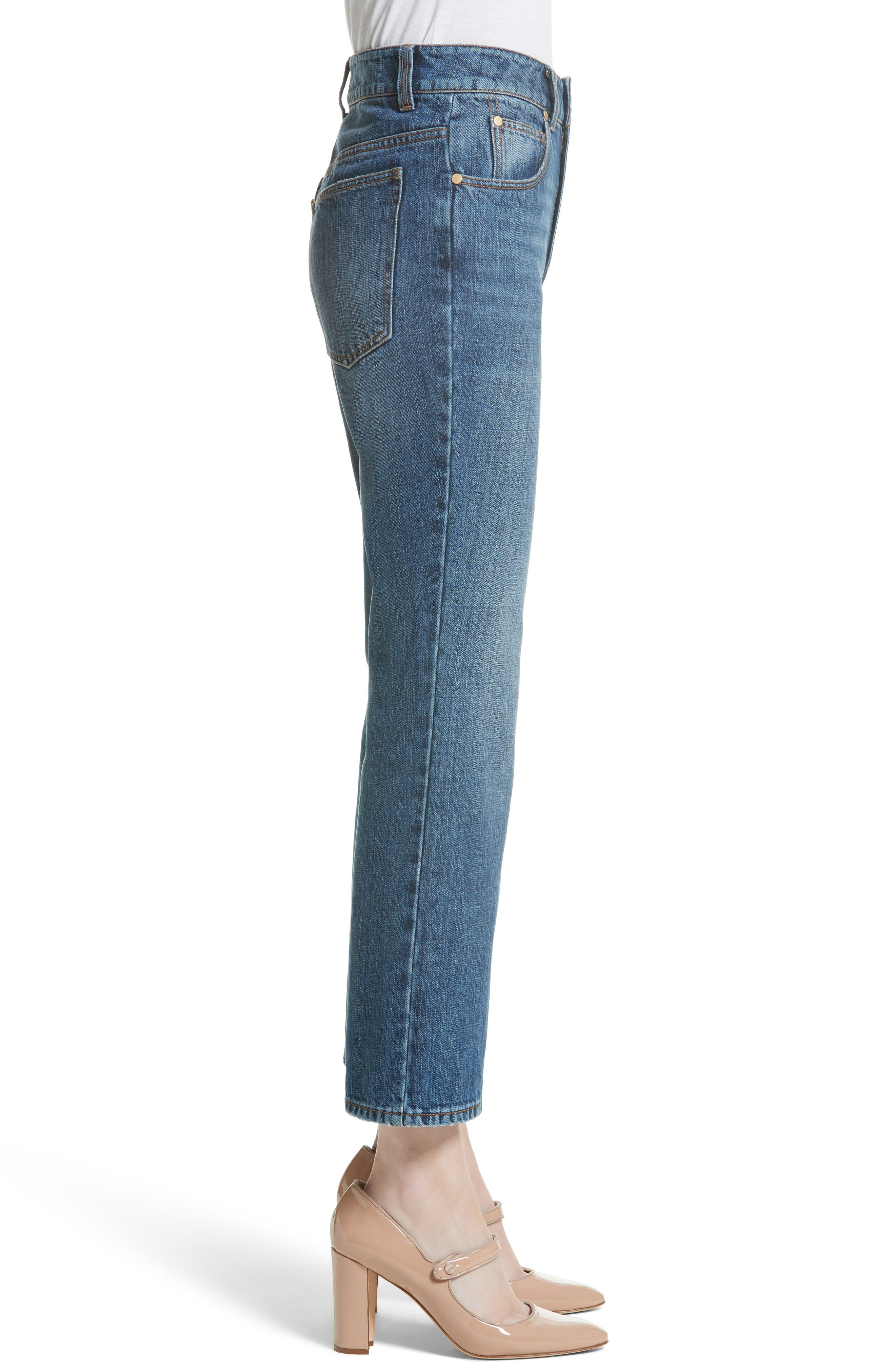Ankle Flare High Waist Jeans,                             Alternate thumbnail 3, color,                             401
