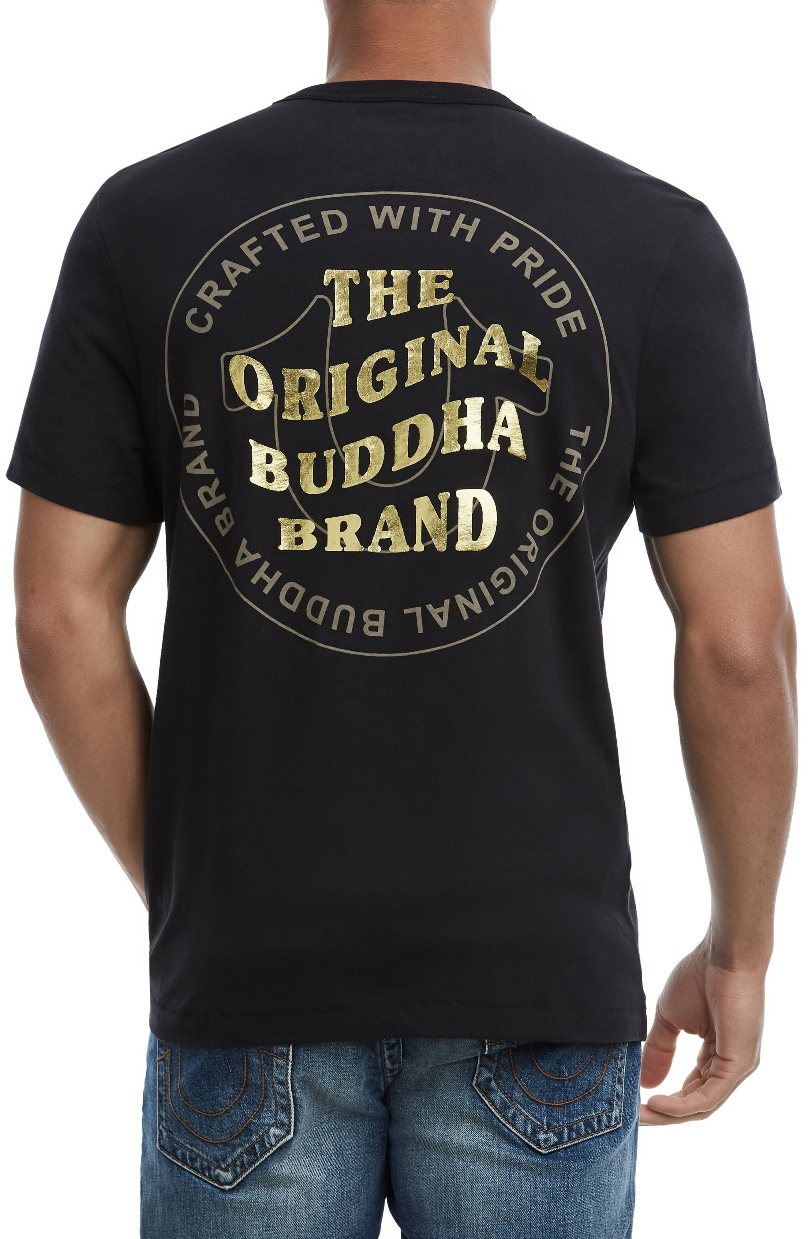 Wavy Buddha Brand T-Shirt,                             Alternate thumbnail 2, color,                             TRUE BLACK
