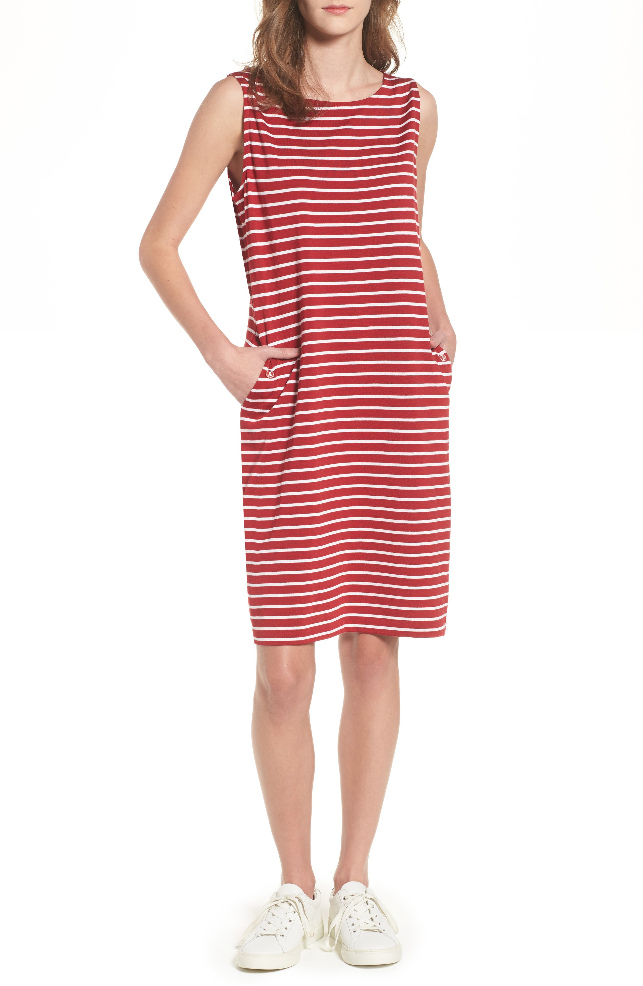 Dalmore Stripe Jersey Sleeveless Shift Dress,                             Main thumbnail 1, color,                             630