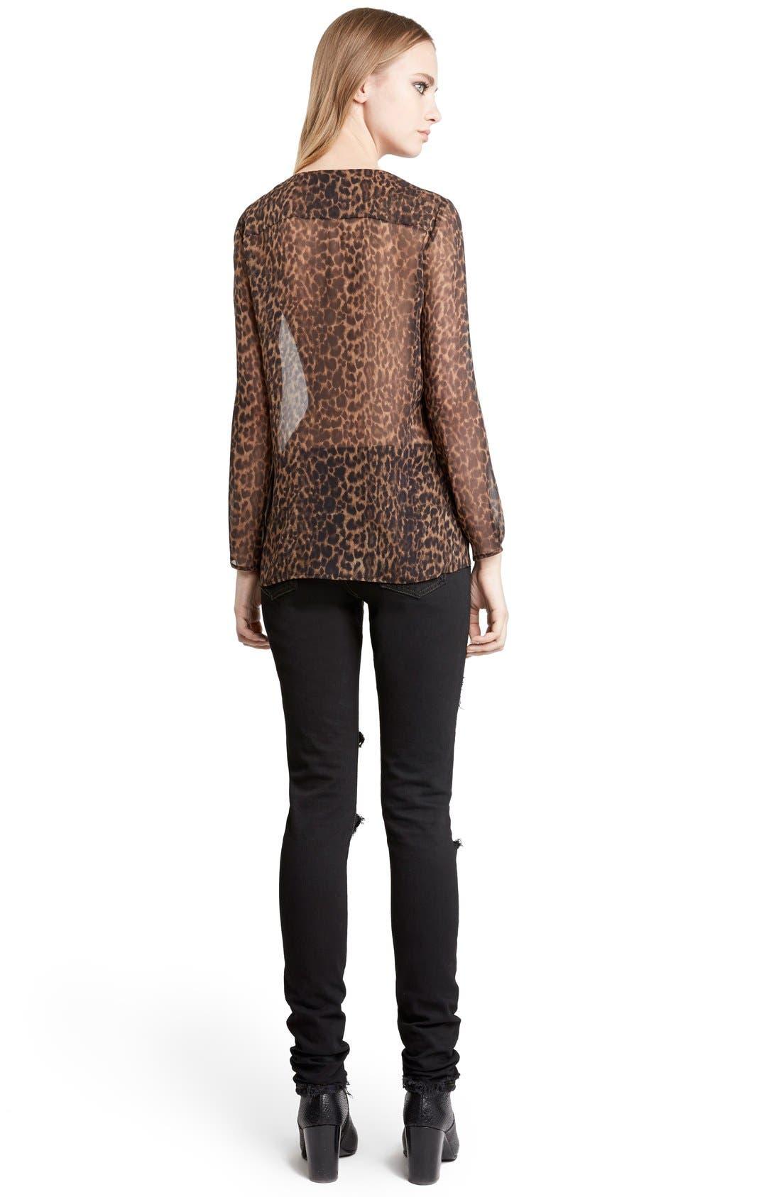 Leopard Print Collarless Silk Georgette Shirt,                             Alternate thumbnail 2, color,