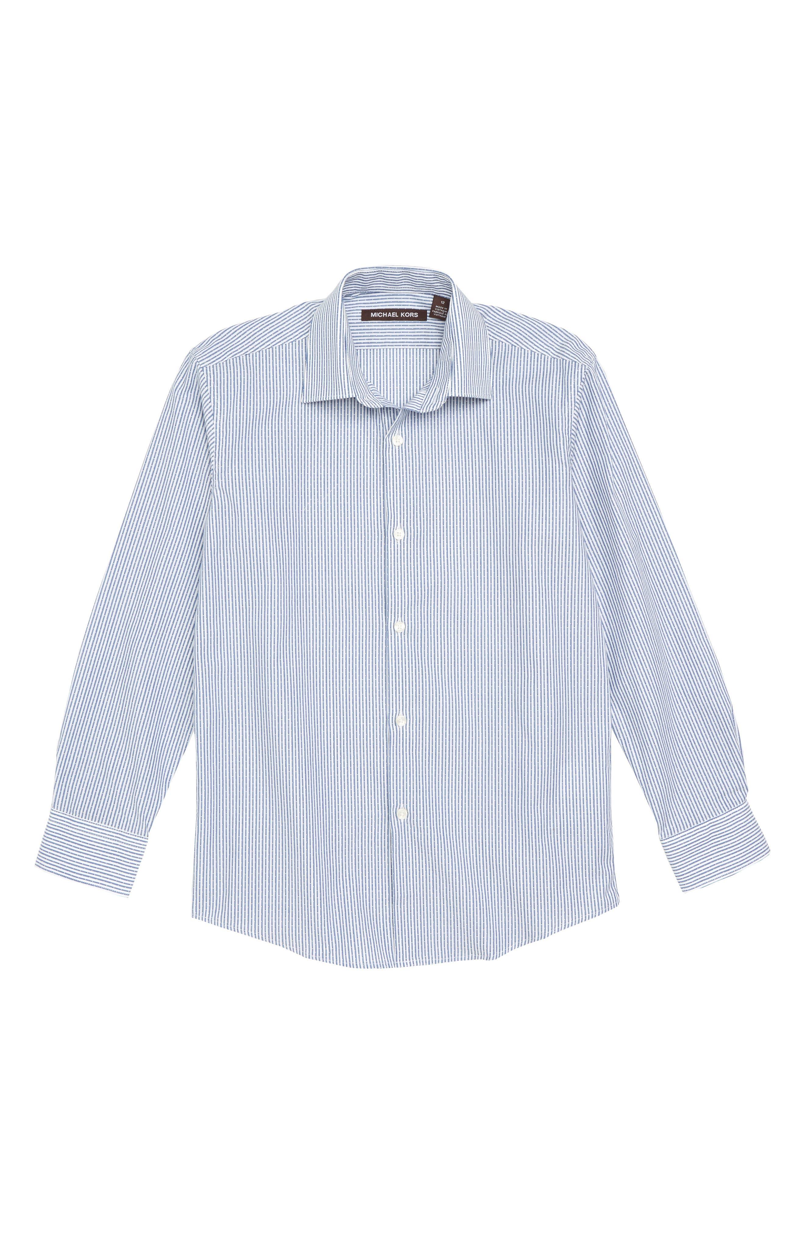 Stripe Dress Shirt,                         Main,                         color, DARK BLUE