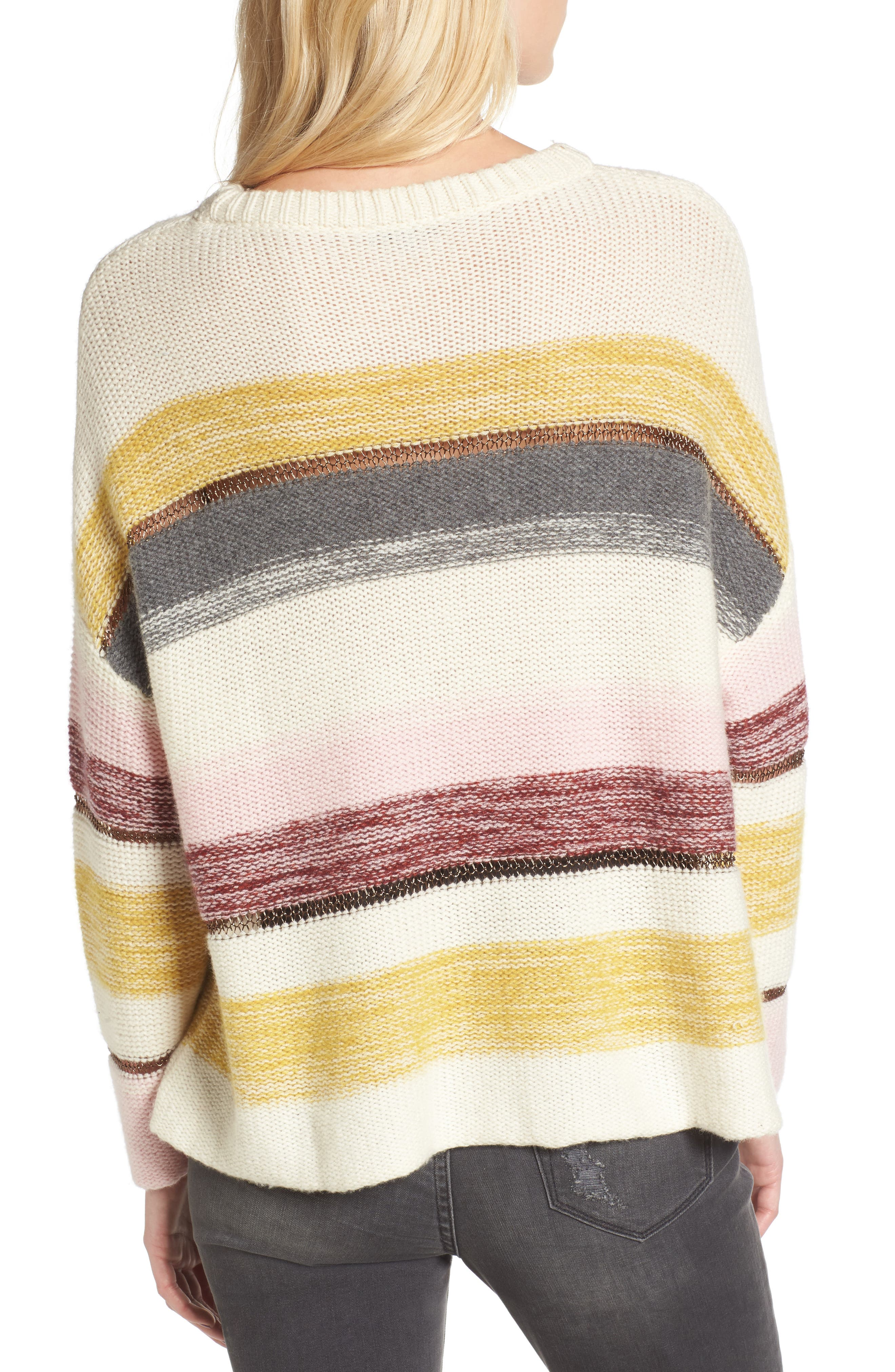 Daphne Stripe Wool & Cashmere Sweater,                             Alternate thumbnail 2, color,                             672