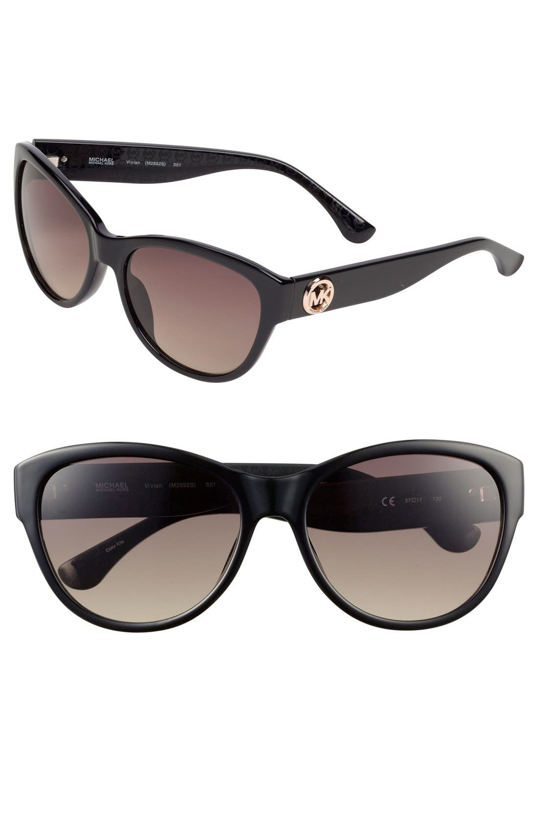 MICHAEL MICHAEL KORS,                             'Vivian' 57mm Sunglasses,                             Main thumbnail 1, color,                             001