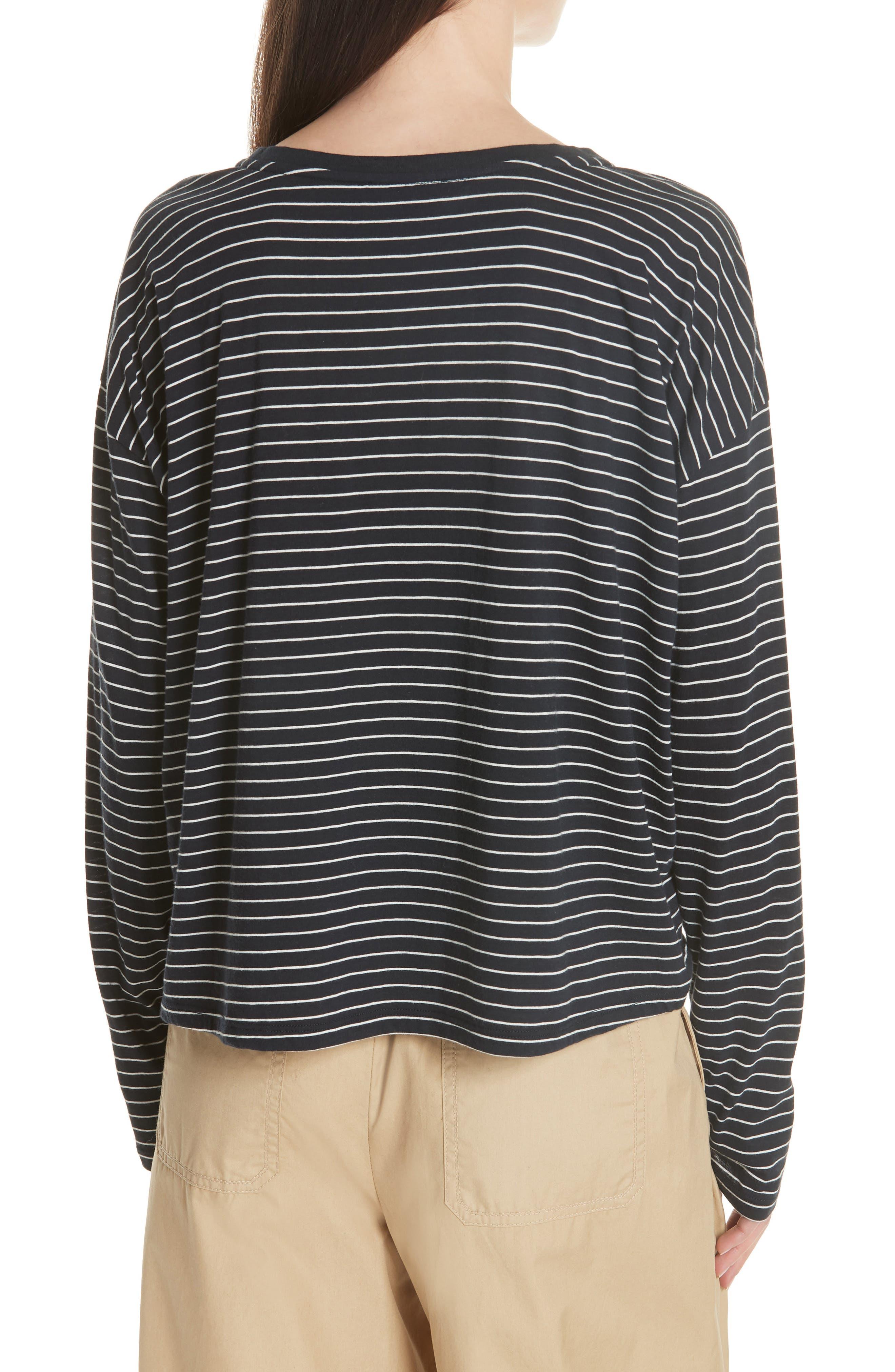 Pencil Stripe Pima Cotton Pullover Top,                             Alternate thumbnail 2, color,                             COASTAL/ VANILLA