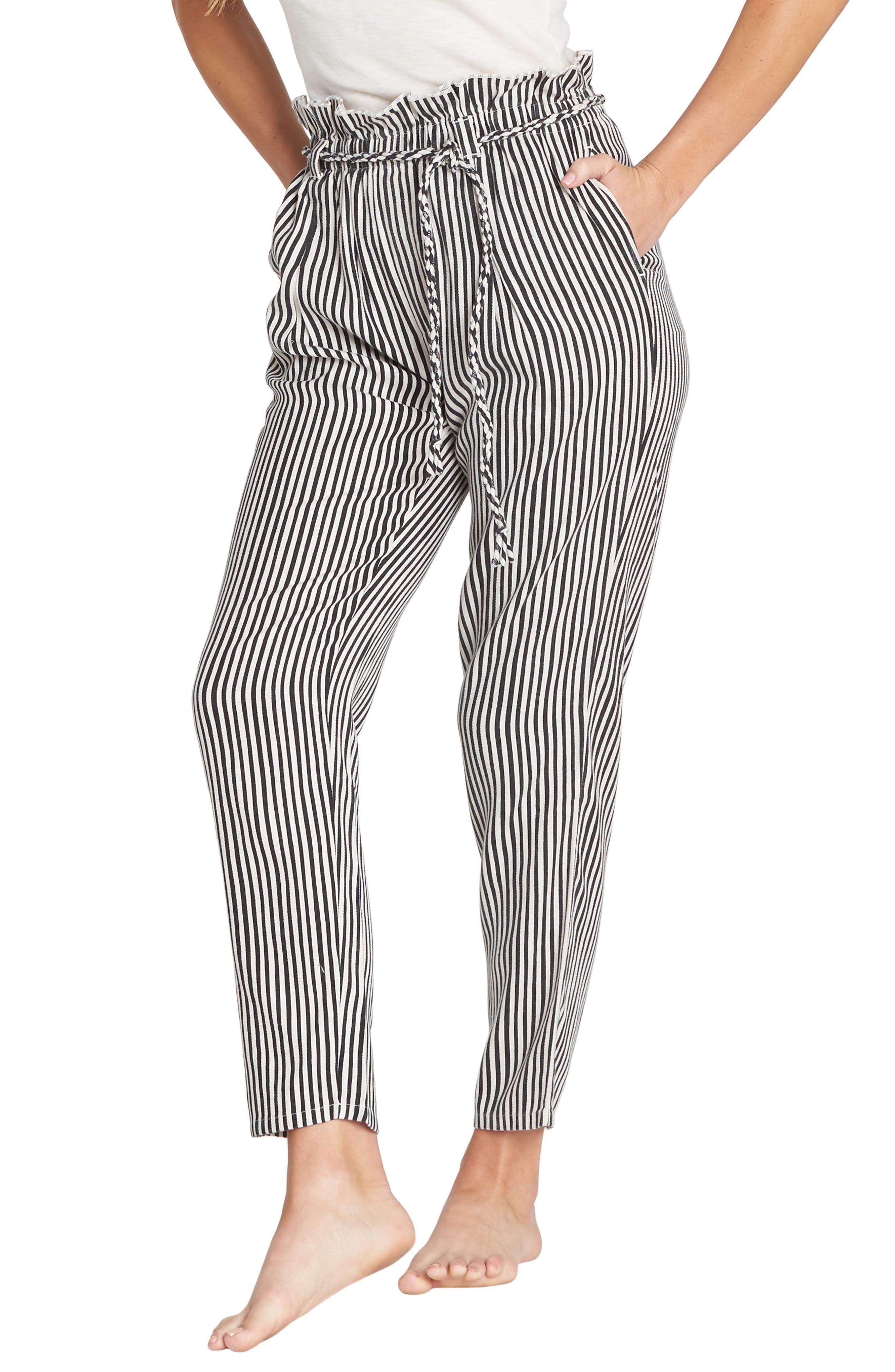 Desert Adventure Paperbag Waist Pants,                         Main,                         color, BLACK/ WHITE