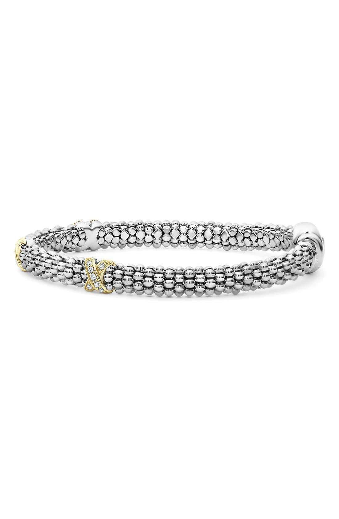 'Signature Caviar' Diamond Rope Bracelet,                             Alternate thumbnail 3, color,                             SILVER/ GOLD