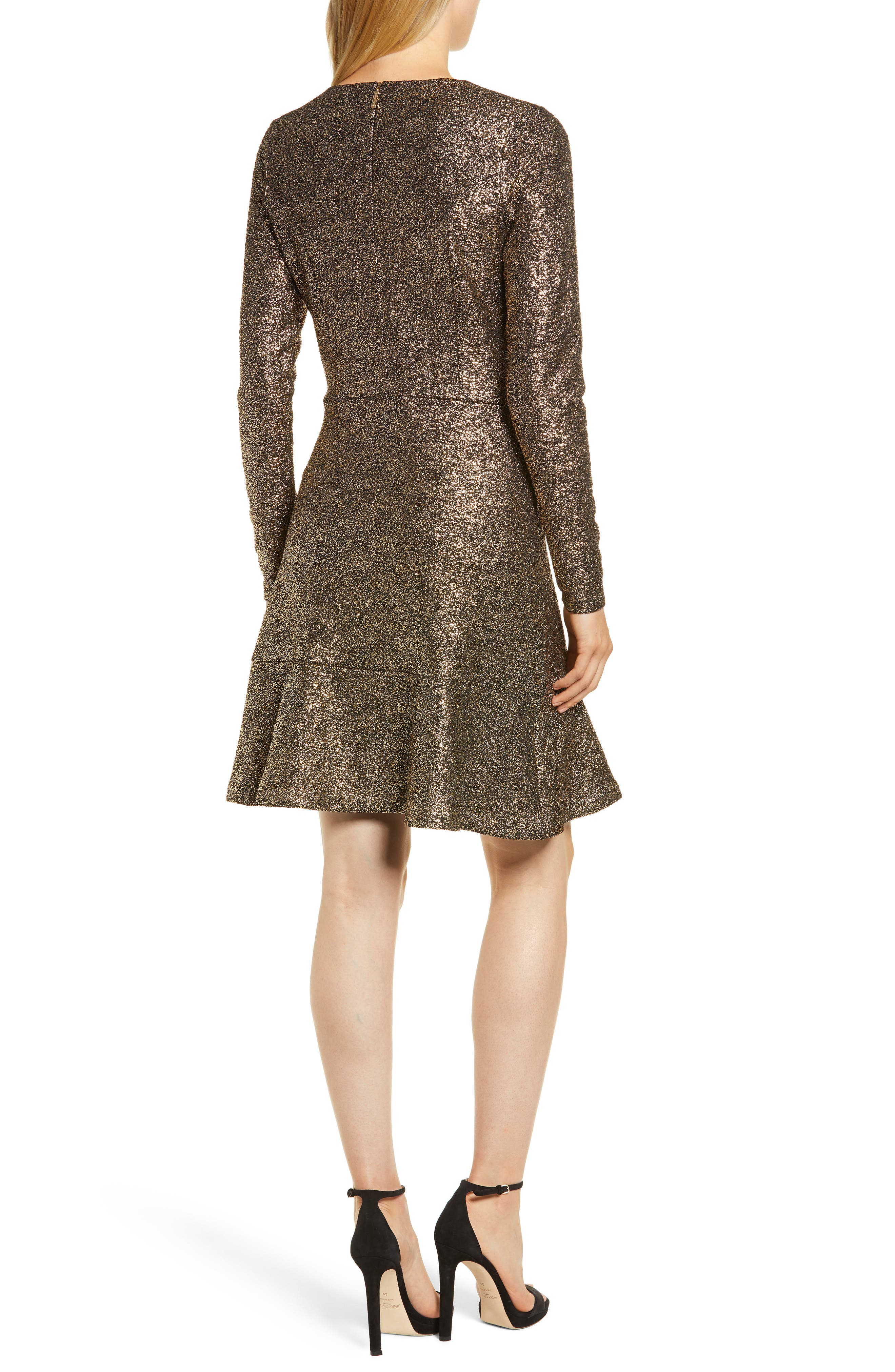 Foil Knit Flounce Dress,                             Alternate thumbnail 2, color,                             001