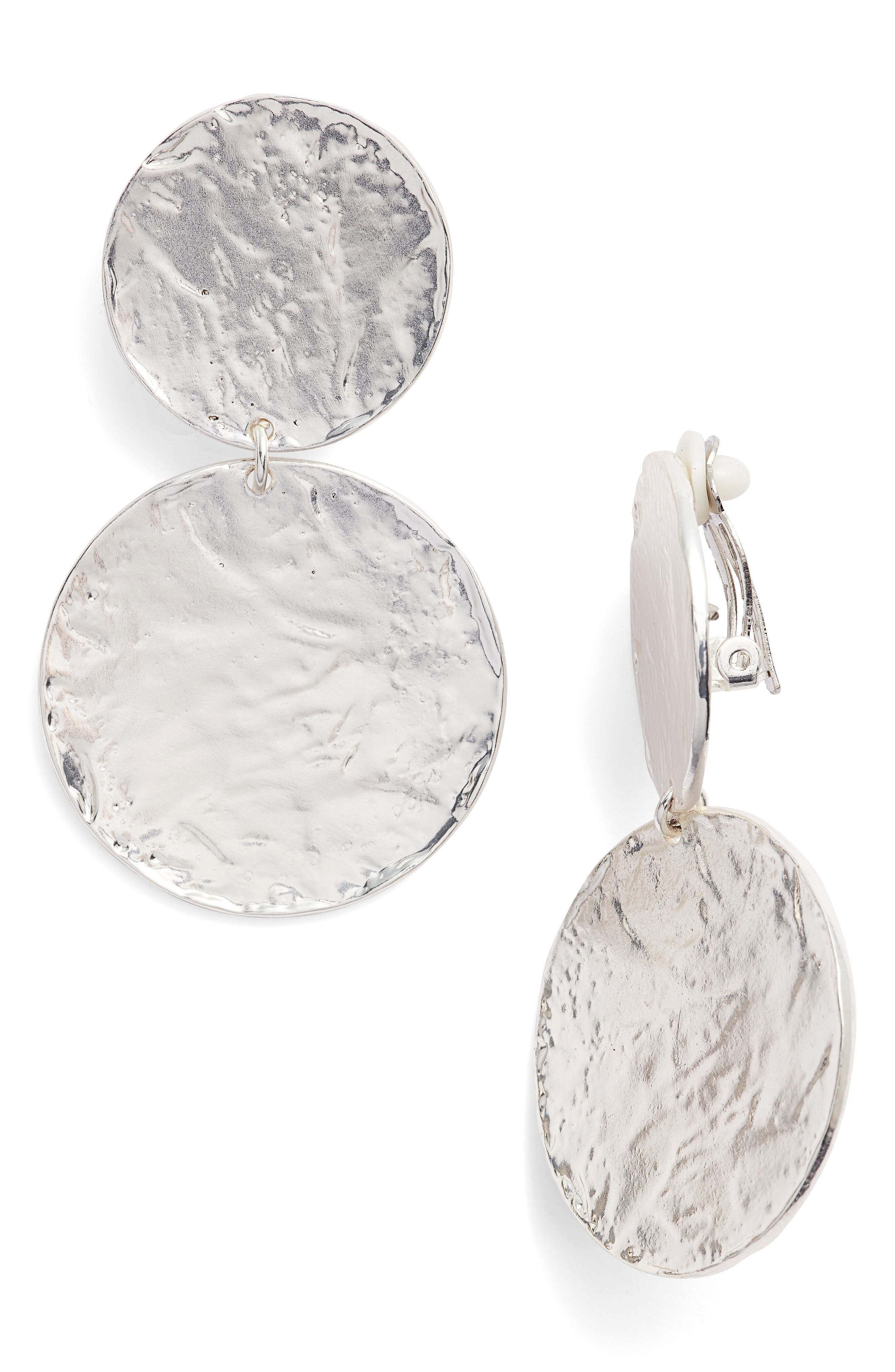Aimee Large Disc Clip Earrings,                             Main thumbnail 1, color,                             SILVER