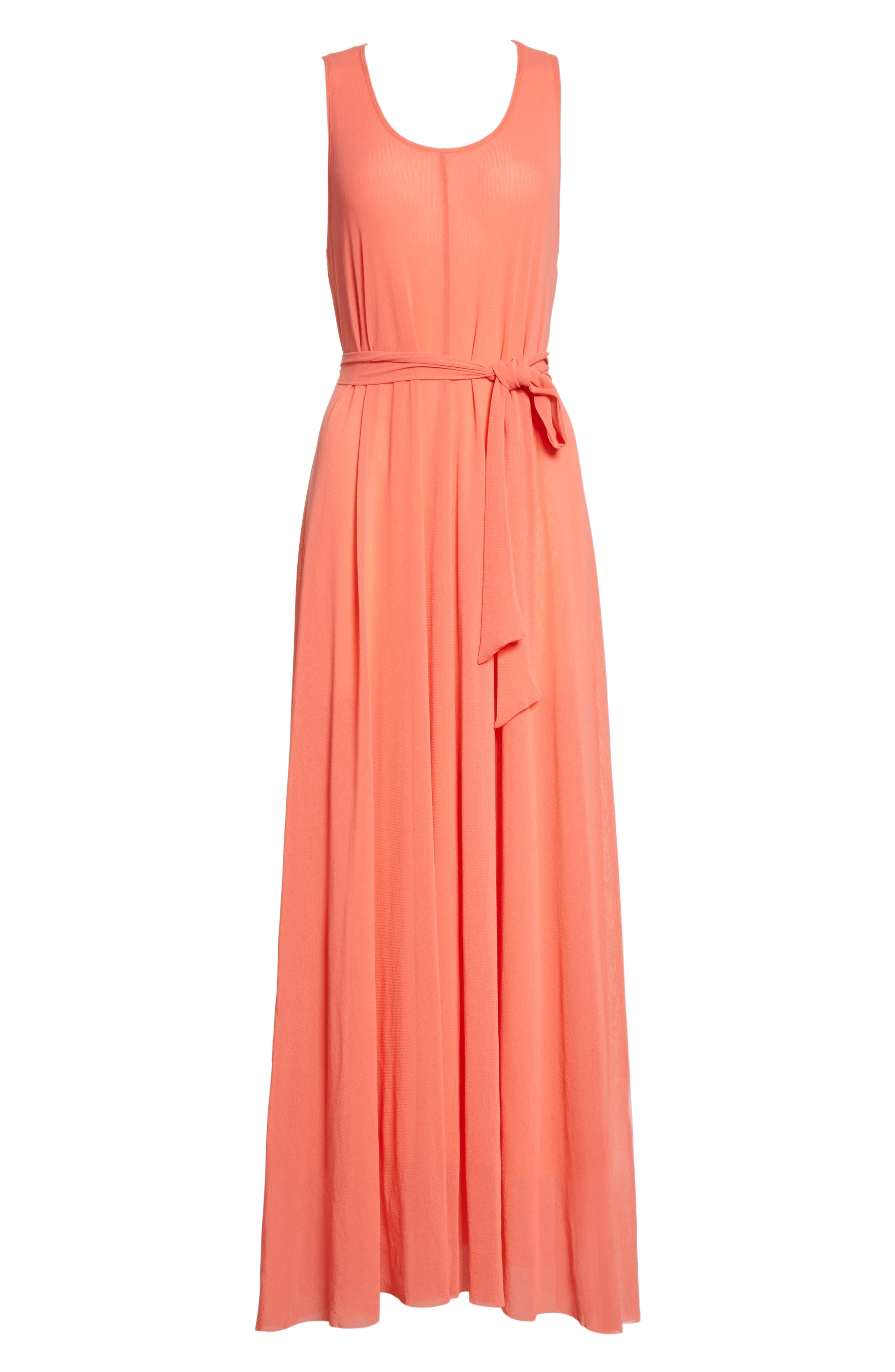 Belted Tulle Maxi Dress,                             Alternate thumbnail 12, color,