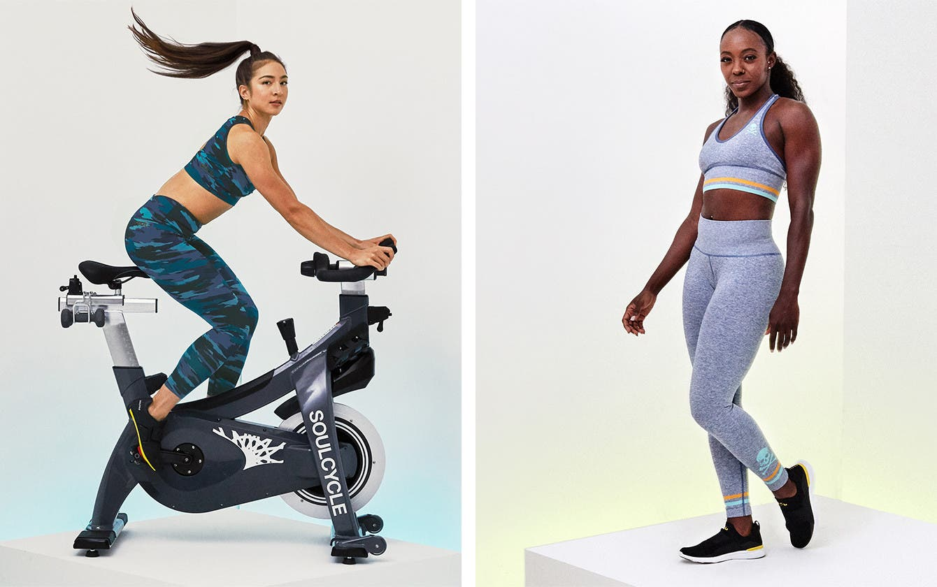 Two SoulCycle instructors model the new Soul by SoulCycle clothing collection.