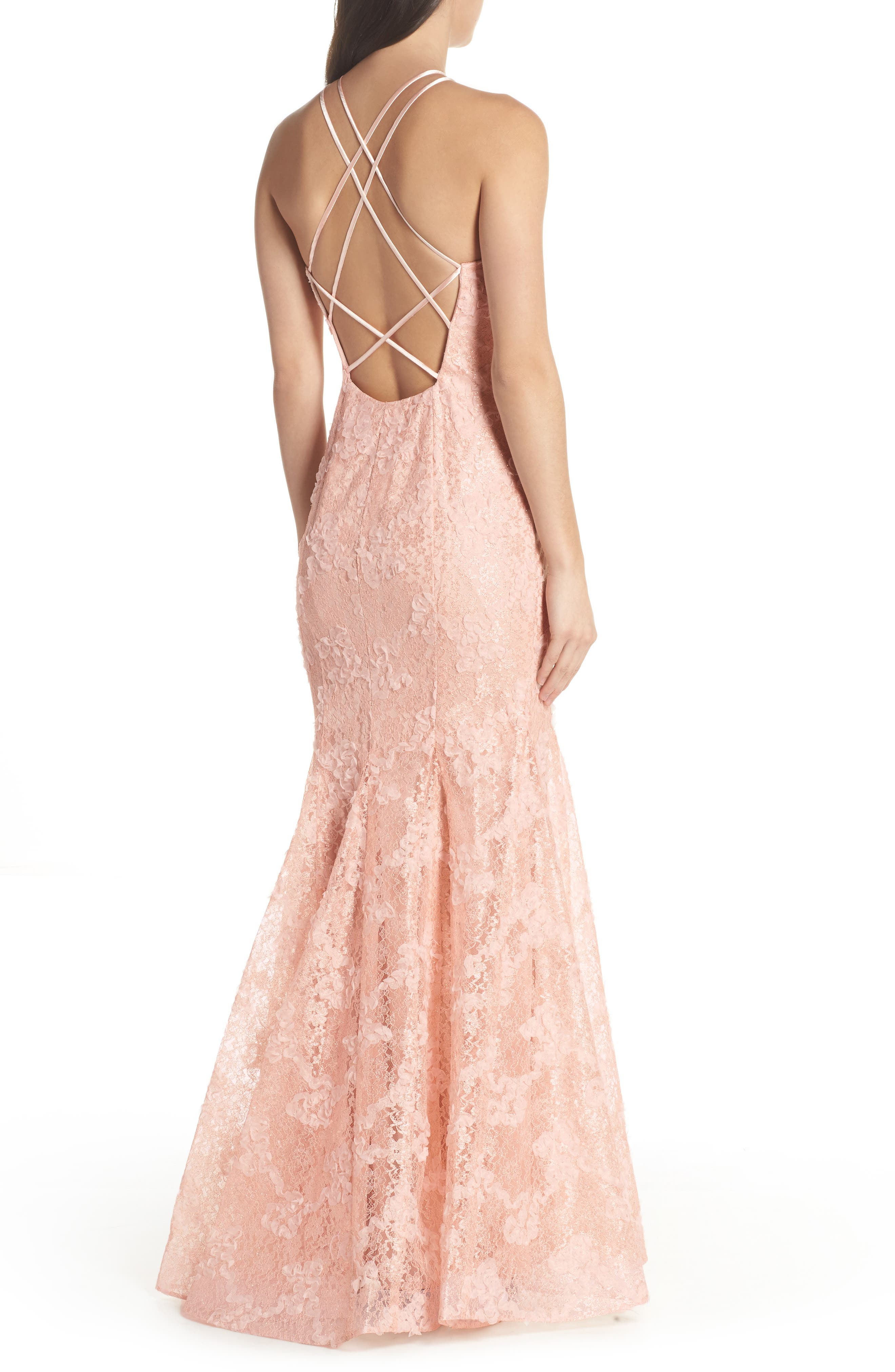 Ruched Lace Halter Mermaid Gown,                             Alternate thumbnail 2, color,                             680