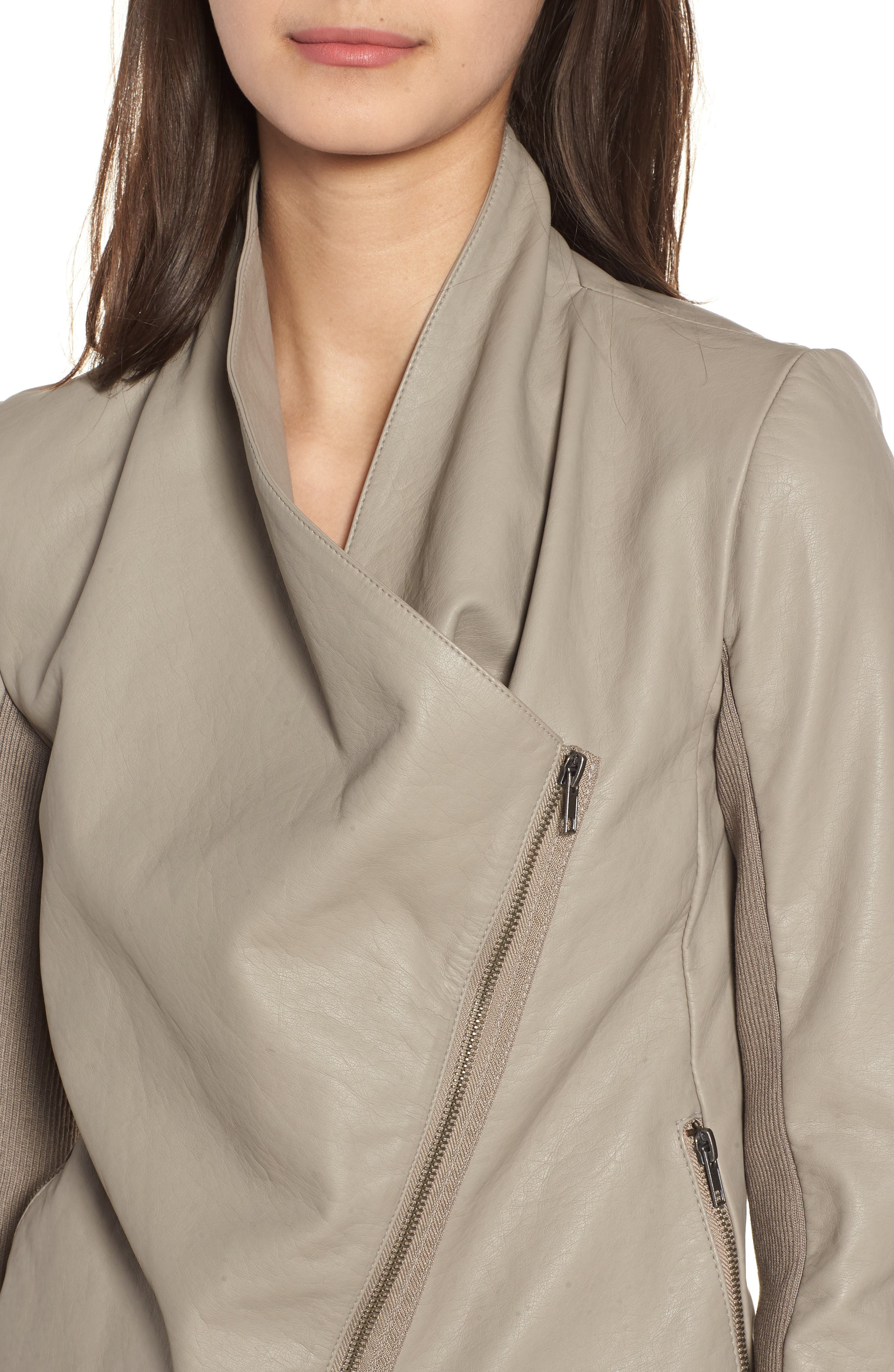 Gabrielle Faux Leather Asymmetrical Jacket,                             Alternate thumbnail 4, color,                             TOFFEE