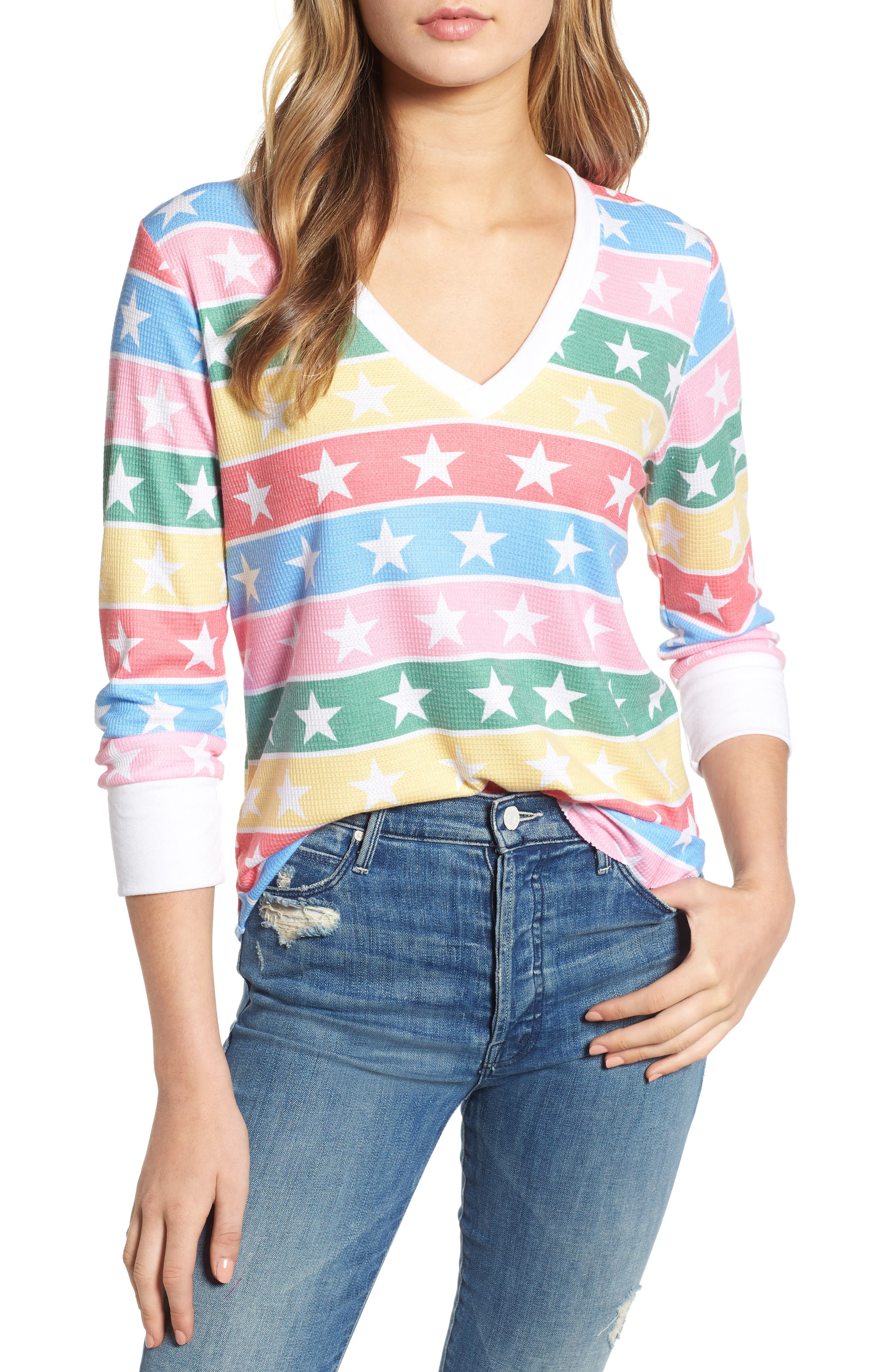 Leroy - Stellar Stripe Thermal Tee,                         Main,                         color, MULTI/ CLEAN WHITE