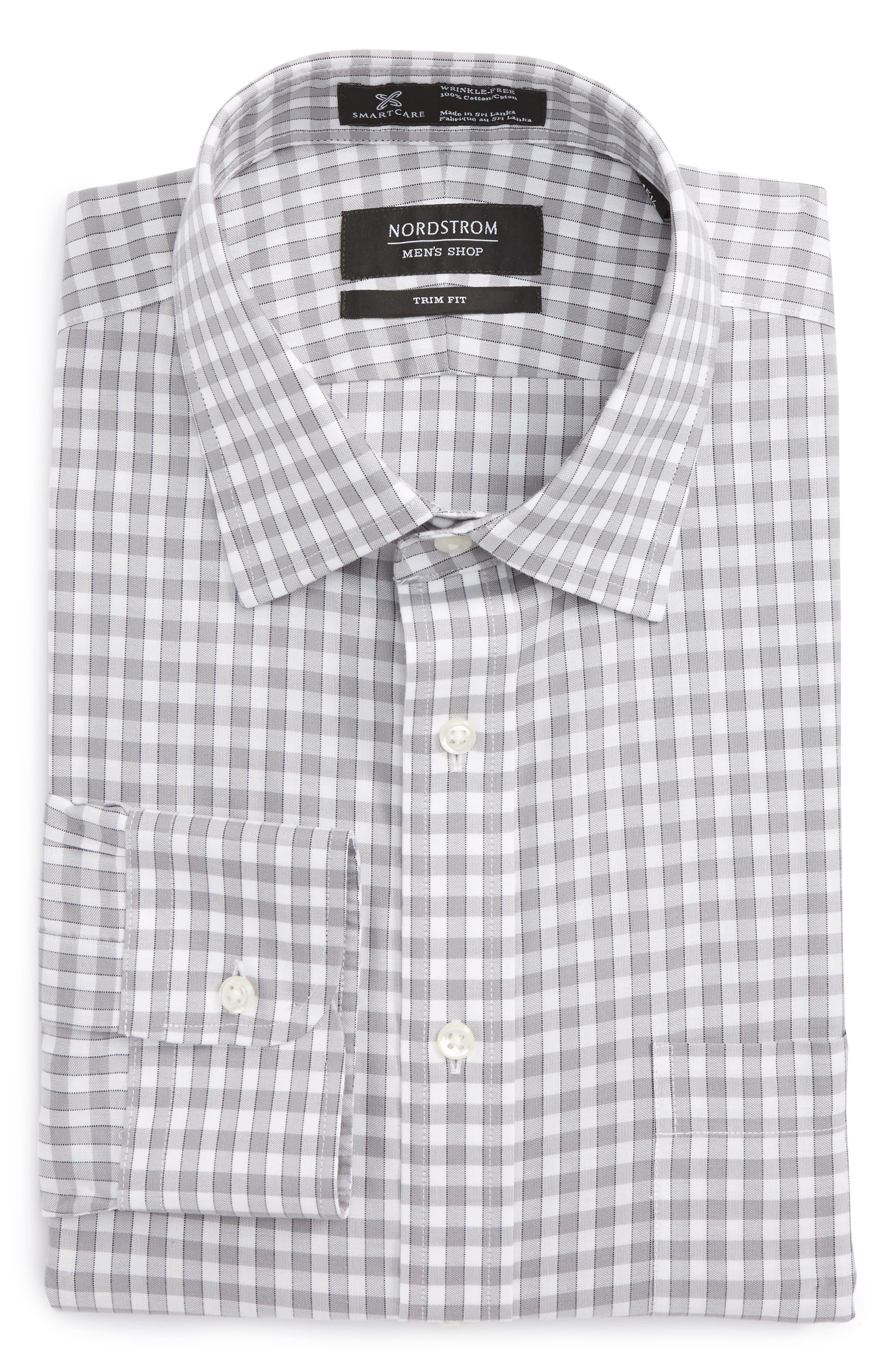 Smartcare<sup>™</sup> Trim Fit Check Dress Shirt,                             Alternate thumbnail 5, color,                             050