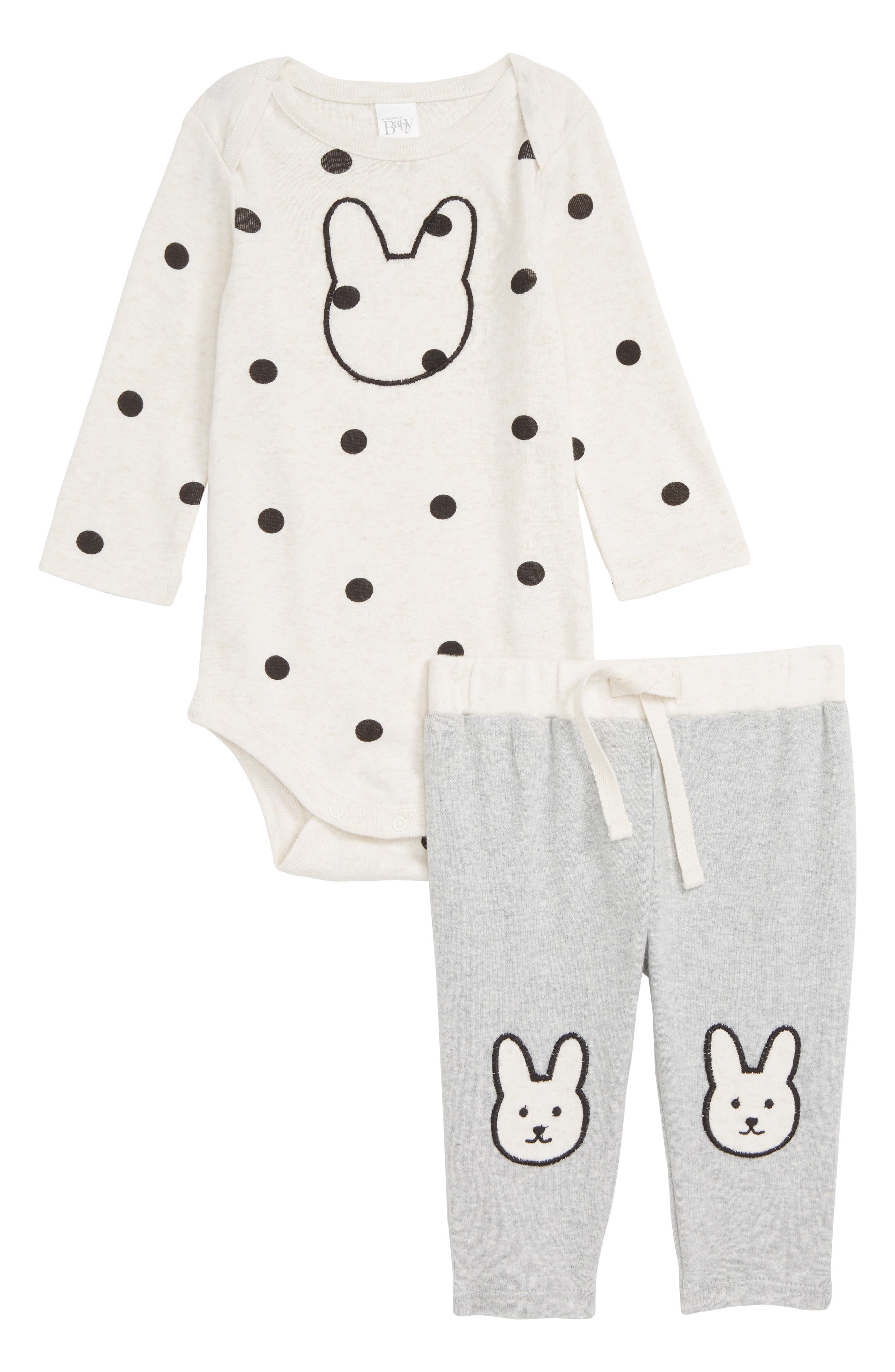 Bunny Bodysuit & Pants Set,                             Main thumbnail 1, color,                             IVORY VANILLA HEATHER BUNNY