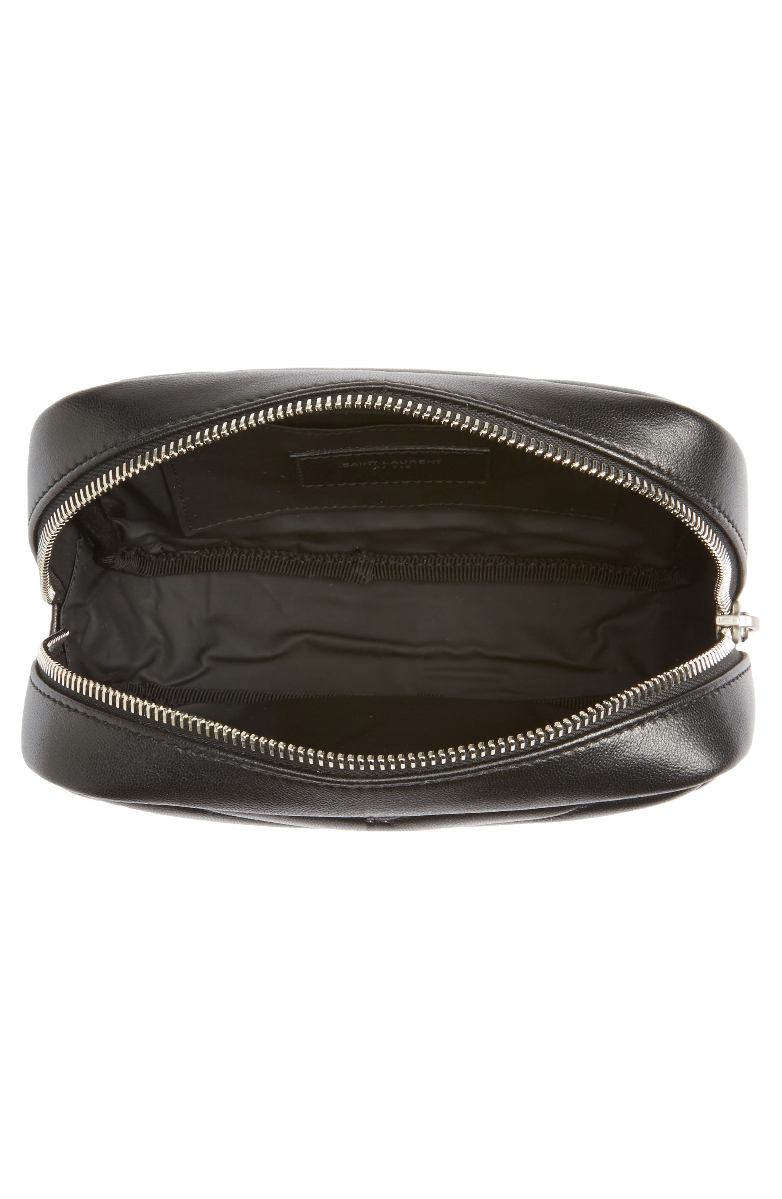 Loulou Matelassé Leather Cosmetics Bag,                             Alternate thumbnail 3, color,                             BLACK