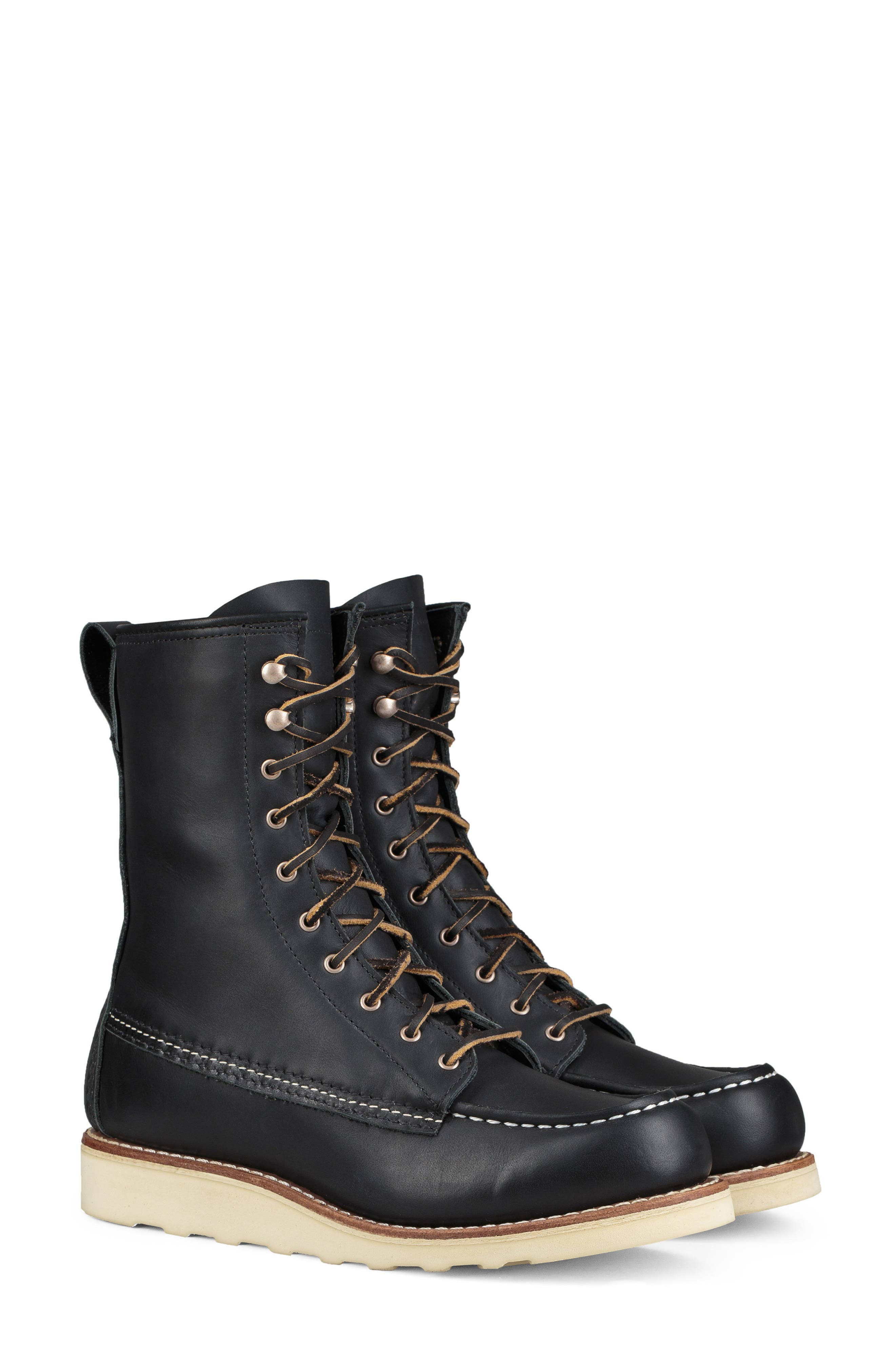 RED WING,                             8-Inch Moc Boot,                             Main thumbnail 1, color,                             BLACK BOUNDARY LEATHER