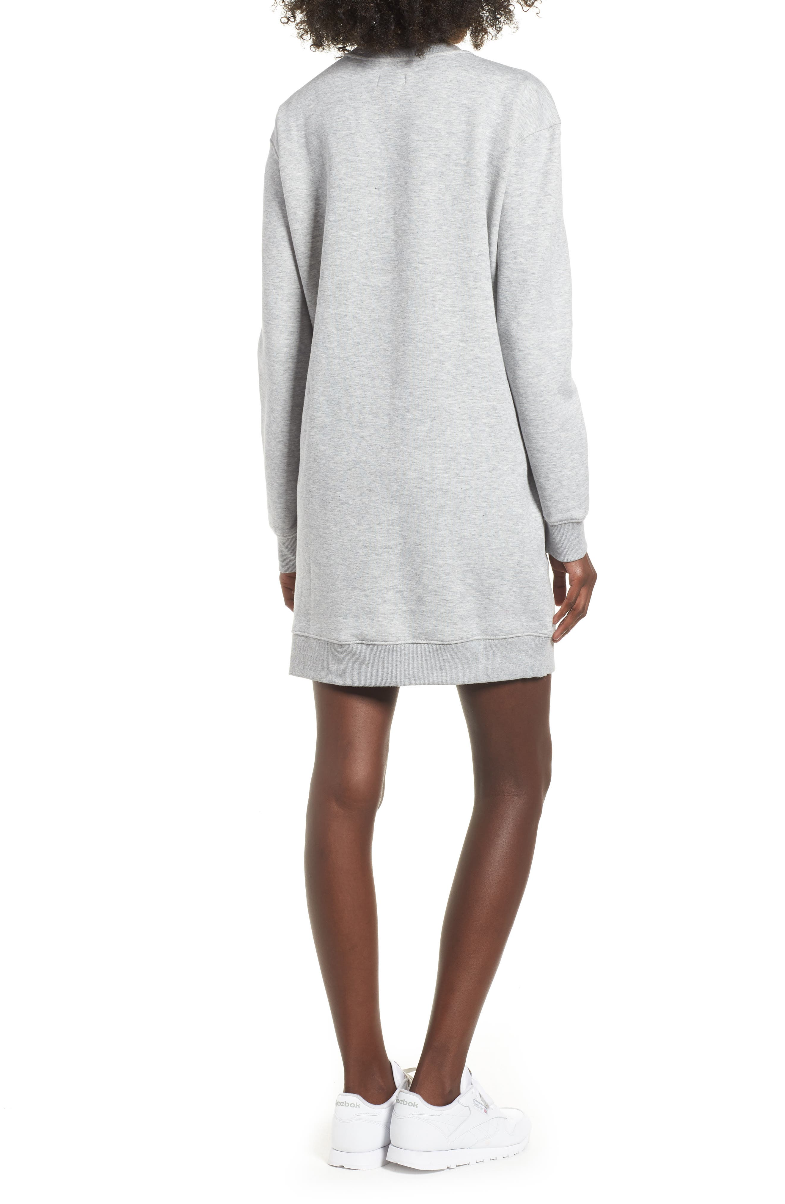 Classic Sweatshirt Dress,                             Alternate thumbnail 2, color,                             LT GREY HEATHER