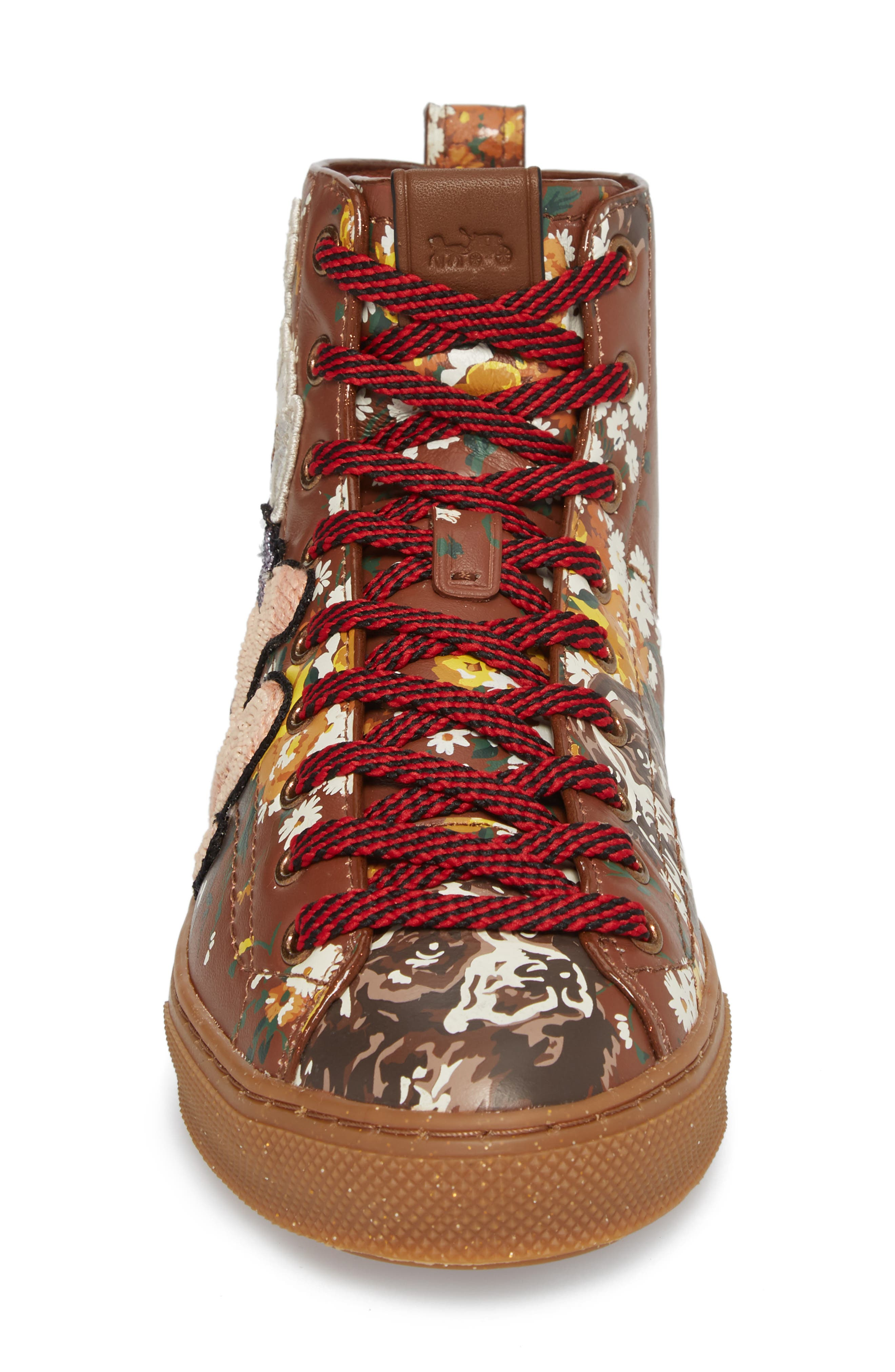 Flower Patch High Top Sneaker,                             Alternate thumbnail 4, color,