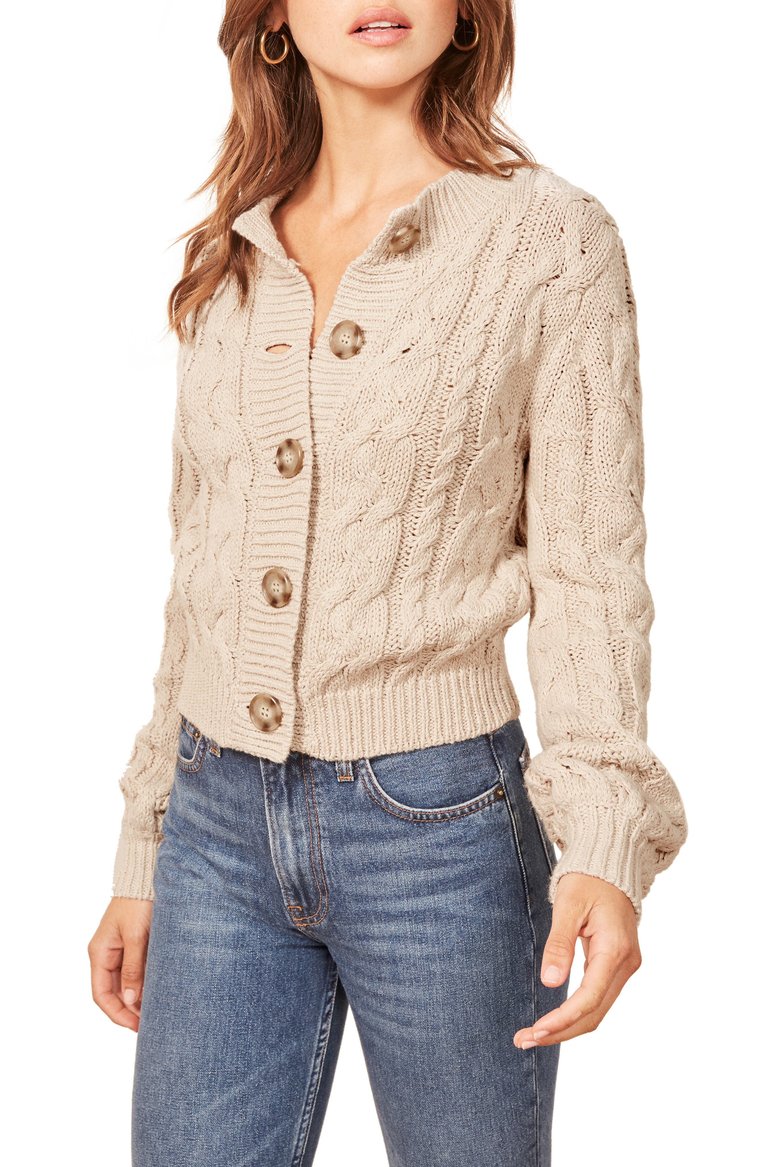 Annie Cable Knit Cardigan,                             Main thumbnail 1, color,                             PEARL