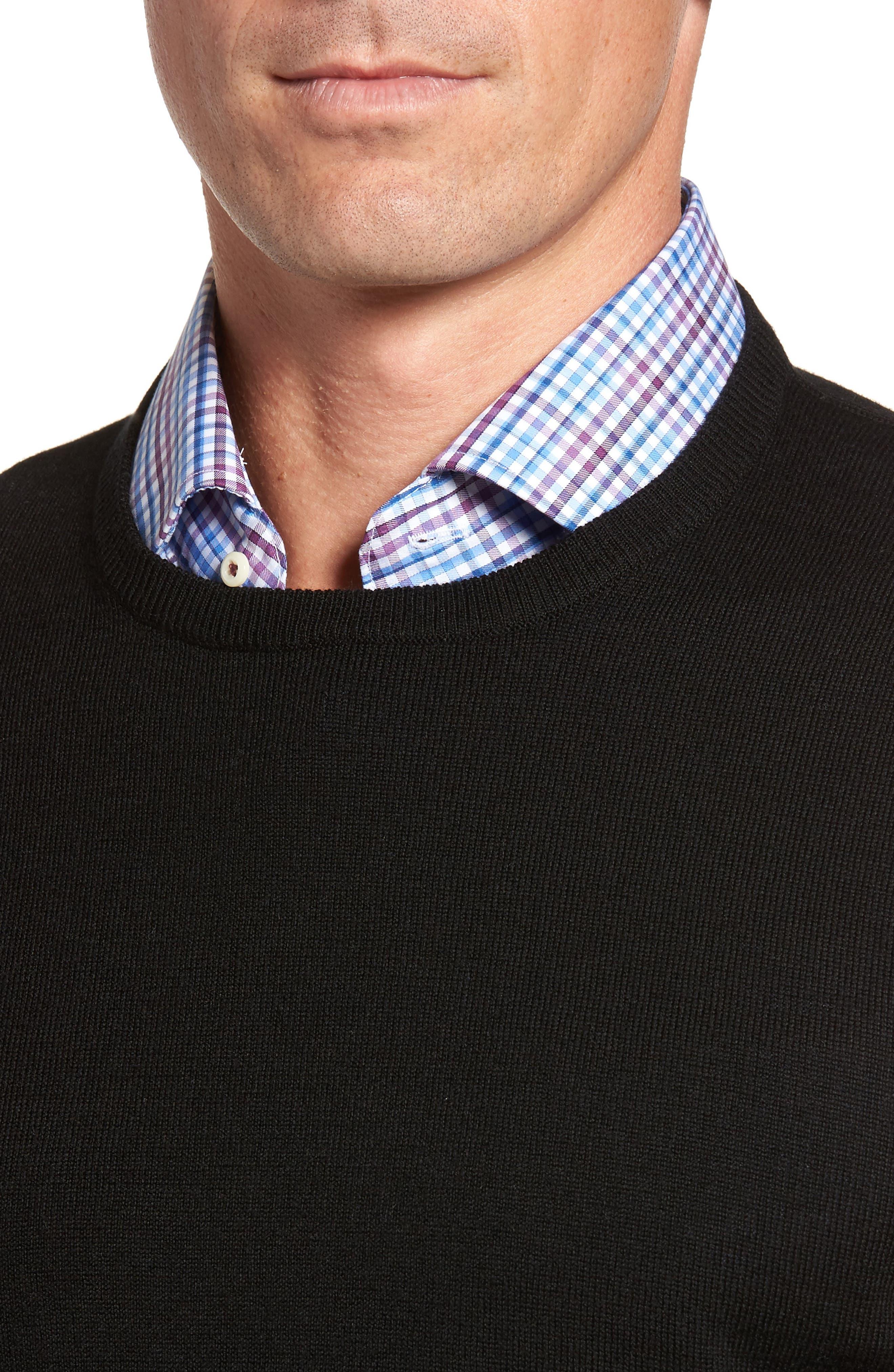Crown Soft Merino Wool & Silk Crewneck Sweater,                             Alternate thumbnail 4, color,                             001