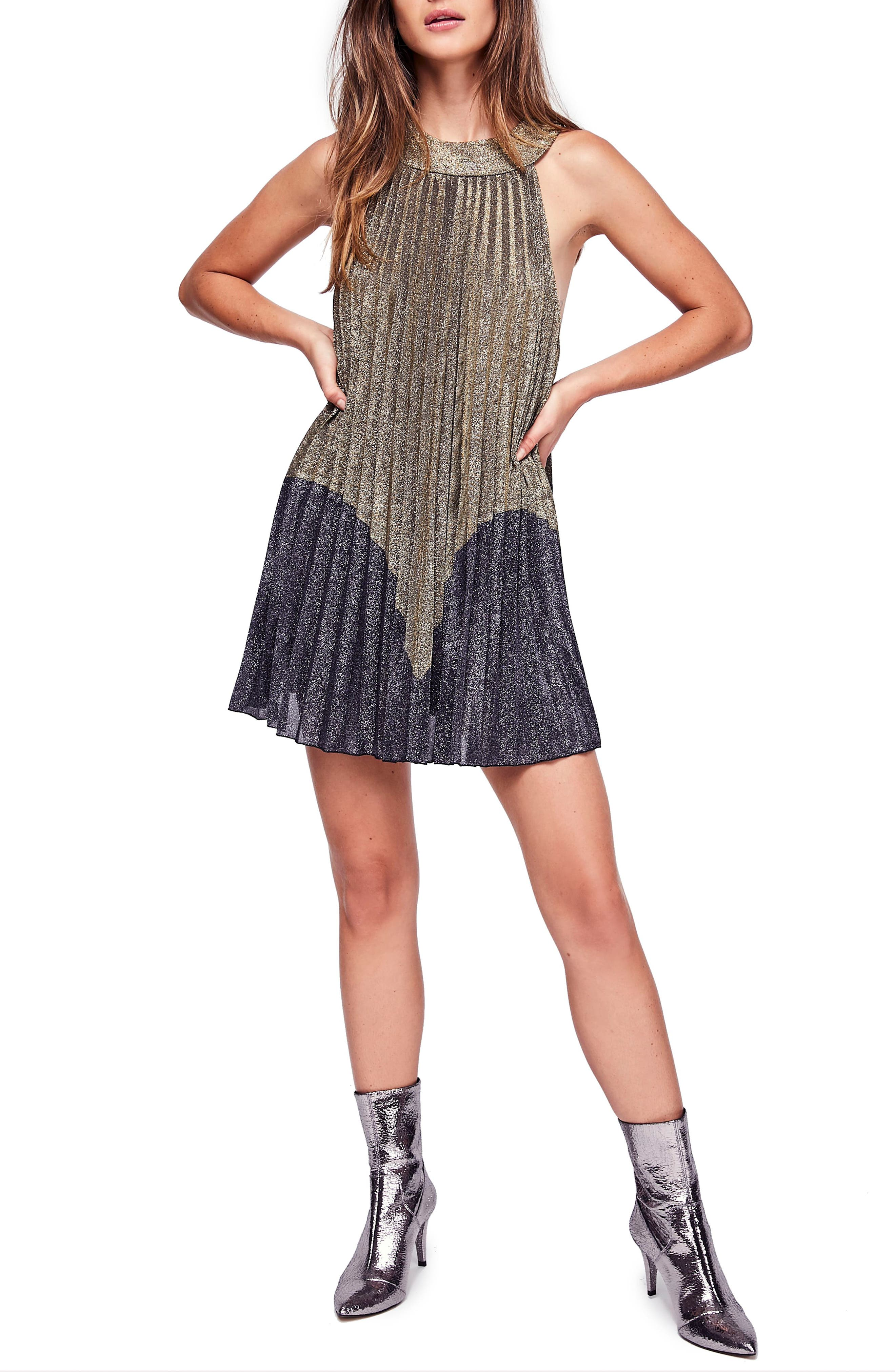 Vintage Evening Dresses Womens Free People Pleated Love Minidress Size X-Large - Metallic $98.00 AT vintagedancer.com