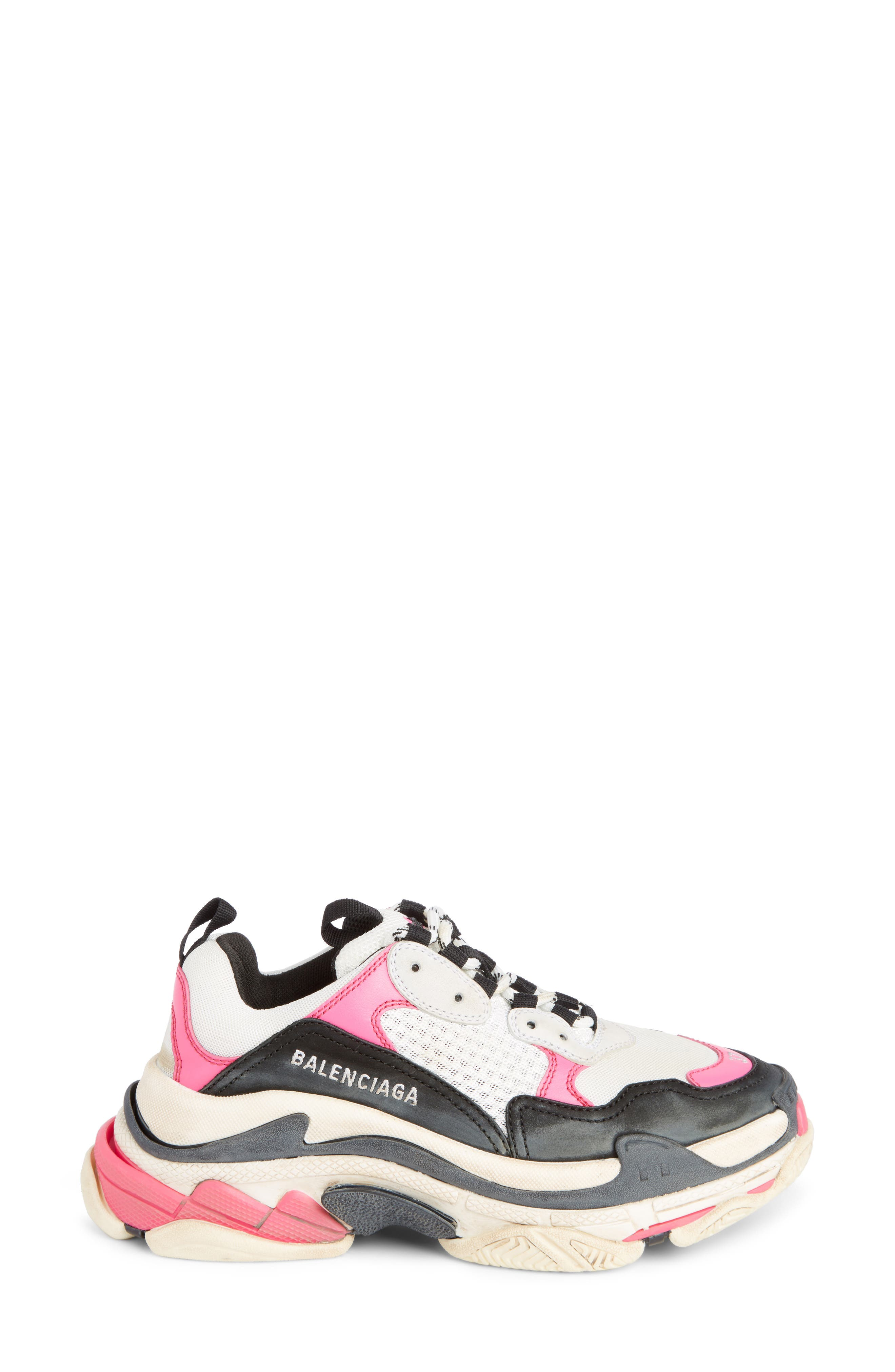 Triple S Low Top Sneaker,                             Alternate thumbnail 3, color,                             ROSE FLUO/ BLACK/ WHITE