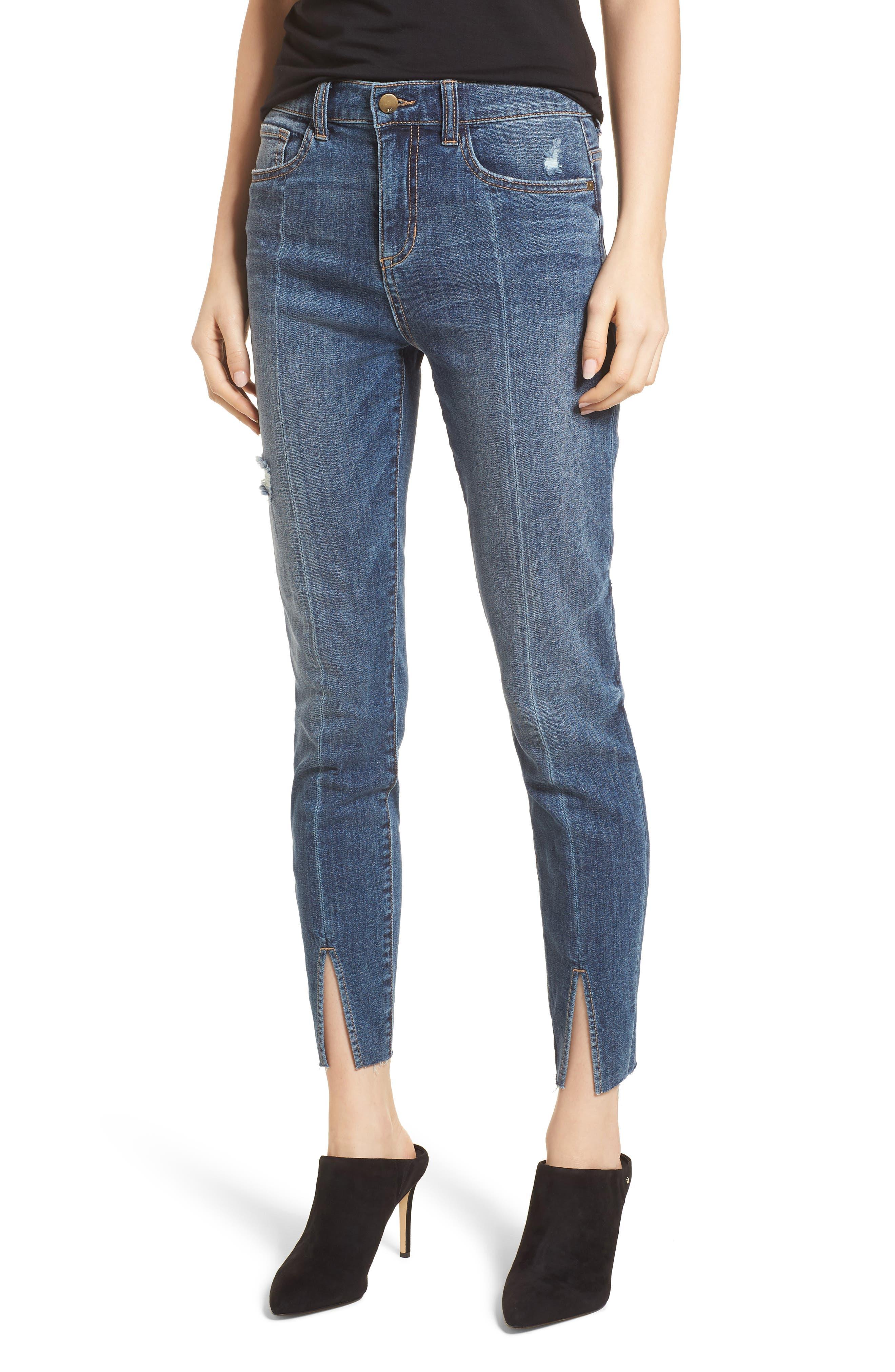 Split Hem Skinny Jeans,                         Main,                         color,