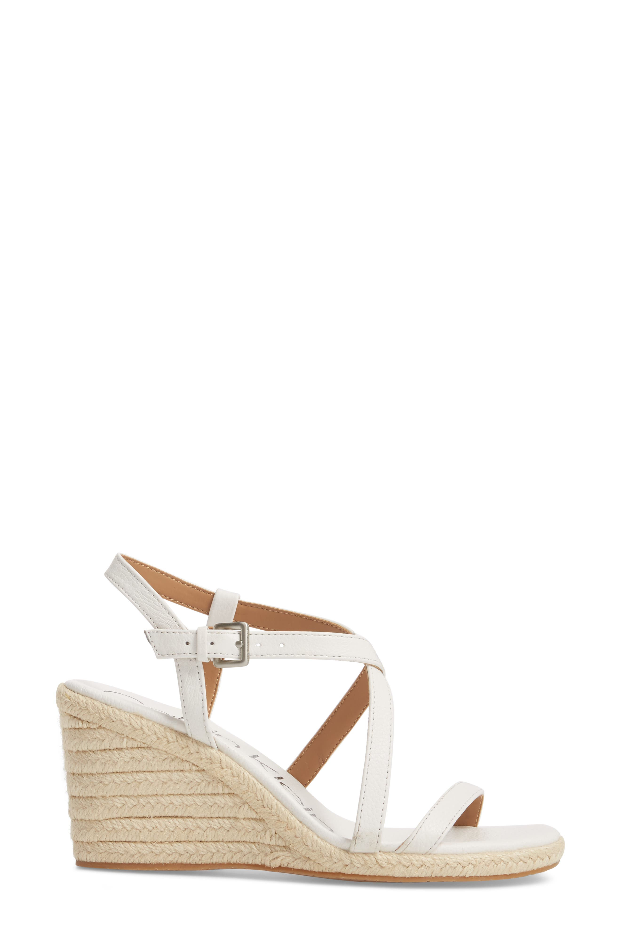 Bellemine Espadrille Wedge Sandal,                             Alternate thumbnail 3, color,                             PLATINUM WHITE PEBBLE LEATHER