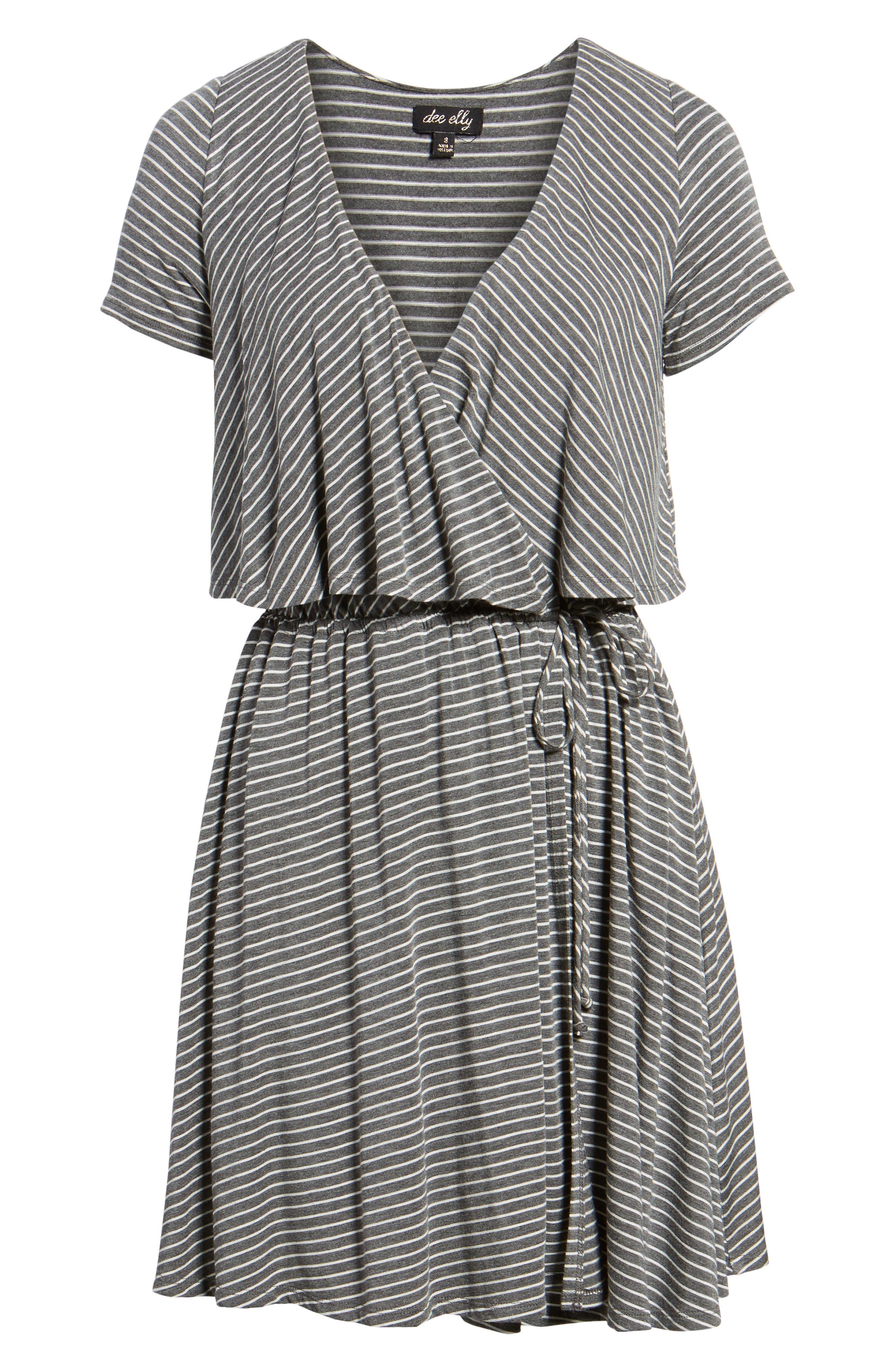 Stripe Flutter Bodice Dress,                             Alternate thumbnail 6, color,                             020