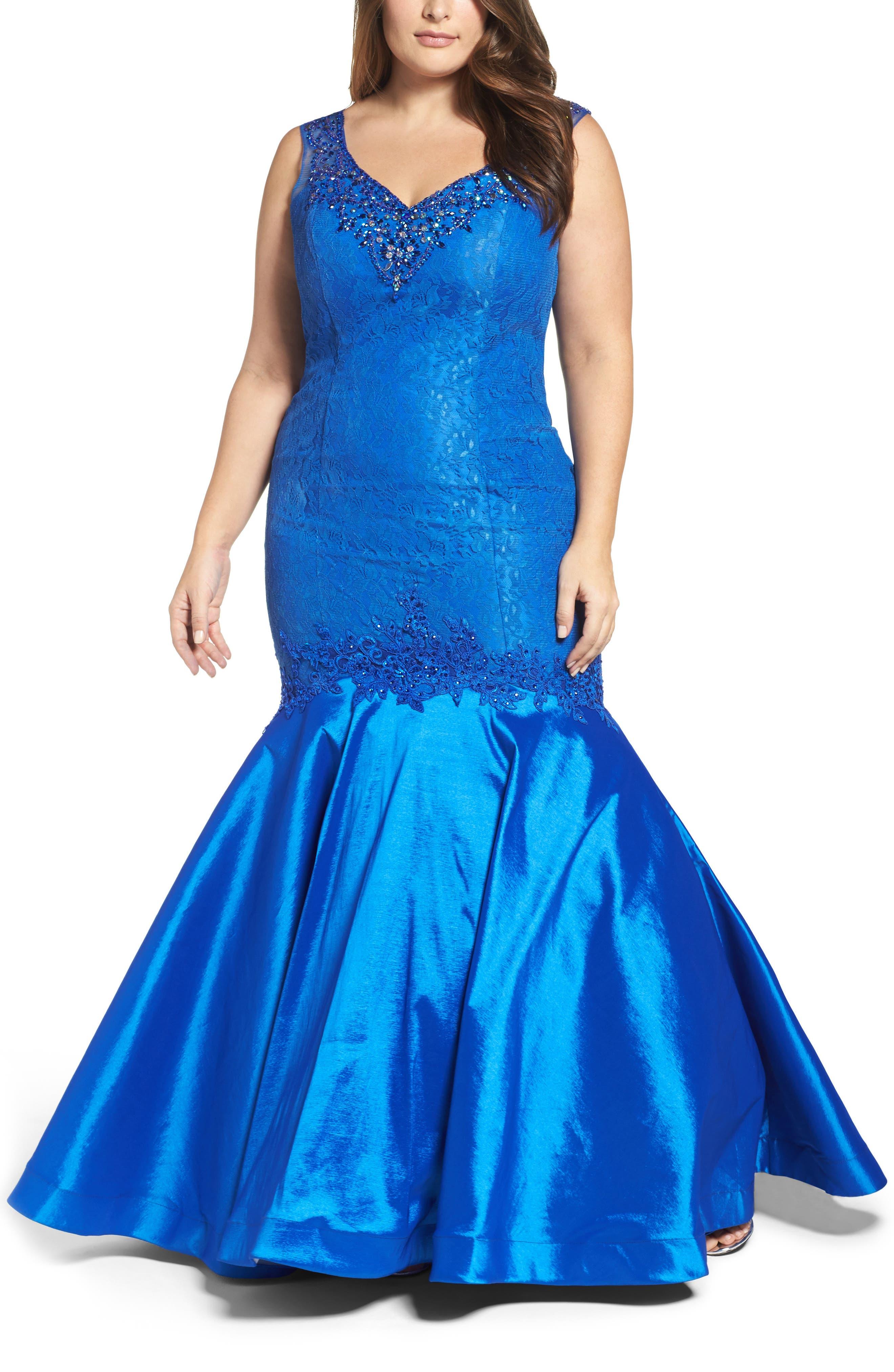 Taffeta Mermaid Gown,                         Main,                         color, ROYAL
