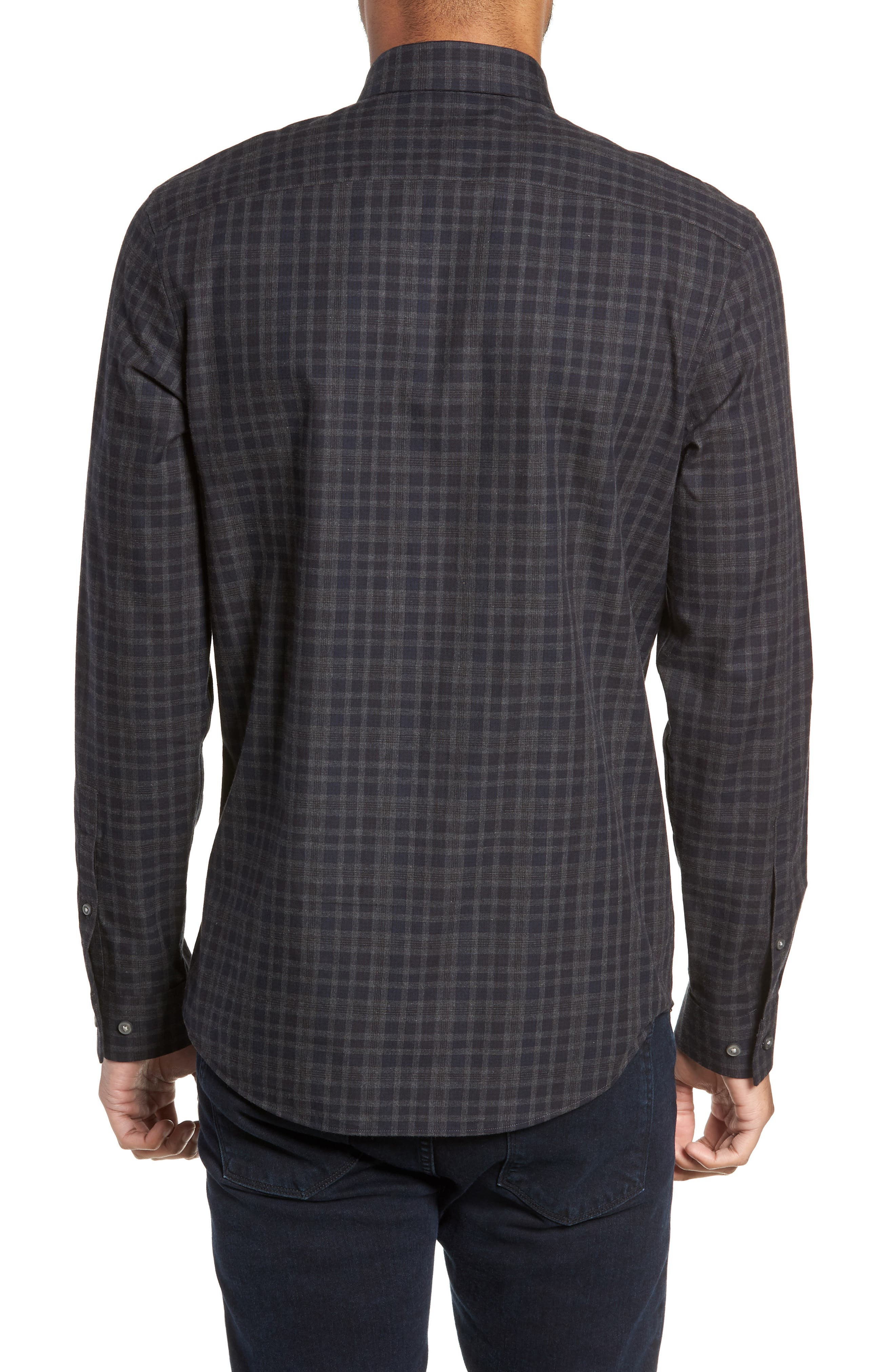 Slim Fit Check Flannel Sport Shirt,                             Alternate thumbnail 2, color,                             BLACK HEATHER NAVY CHECK