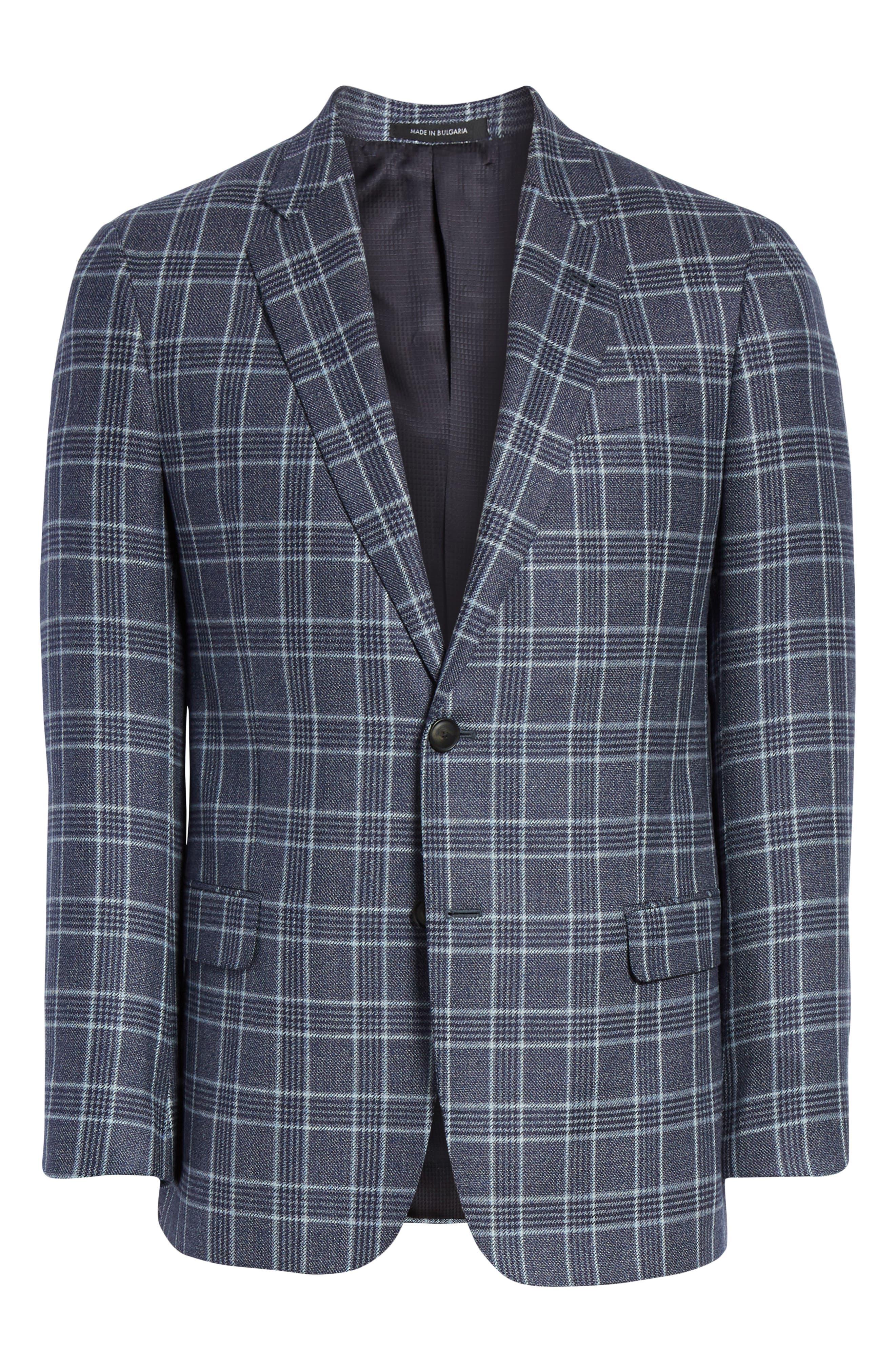 G Line Trim Fit Plaid Silk & Wool Sport Coat,                             Alternate thumbnail 5, color,                             459
