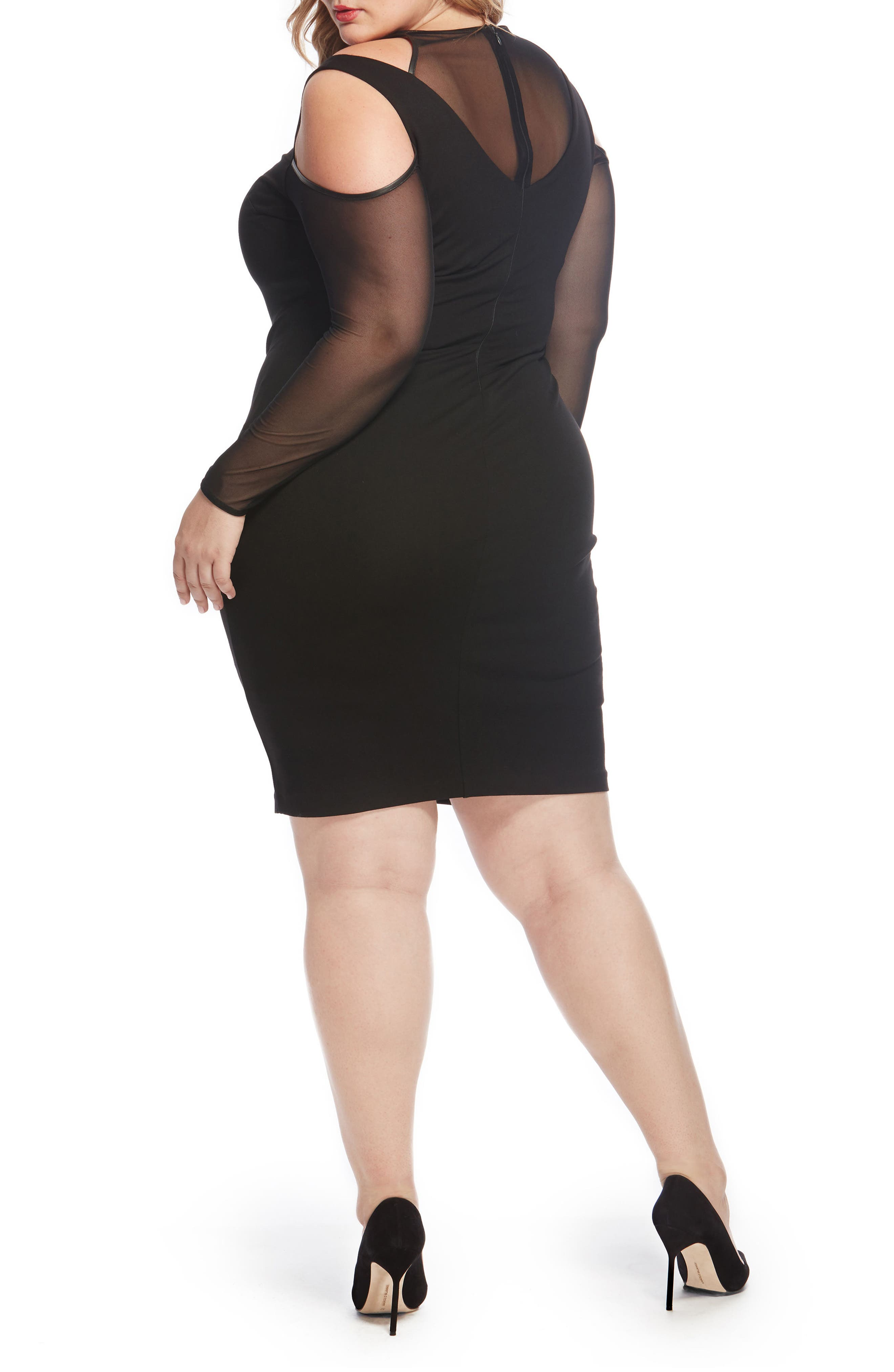 Peekaboo Mesh Ponte Dress,                             Alternate thumbnail 2, color,                             001