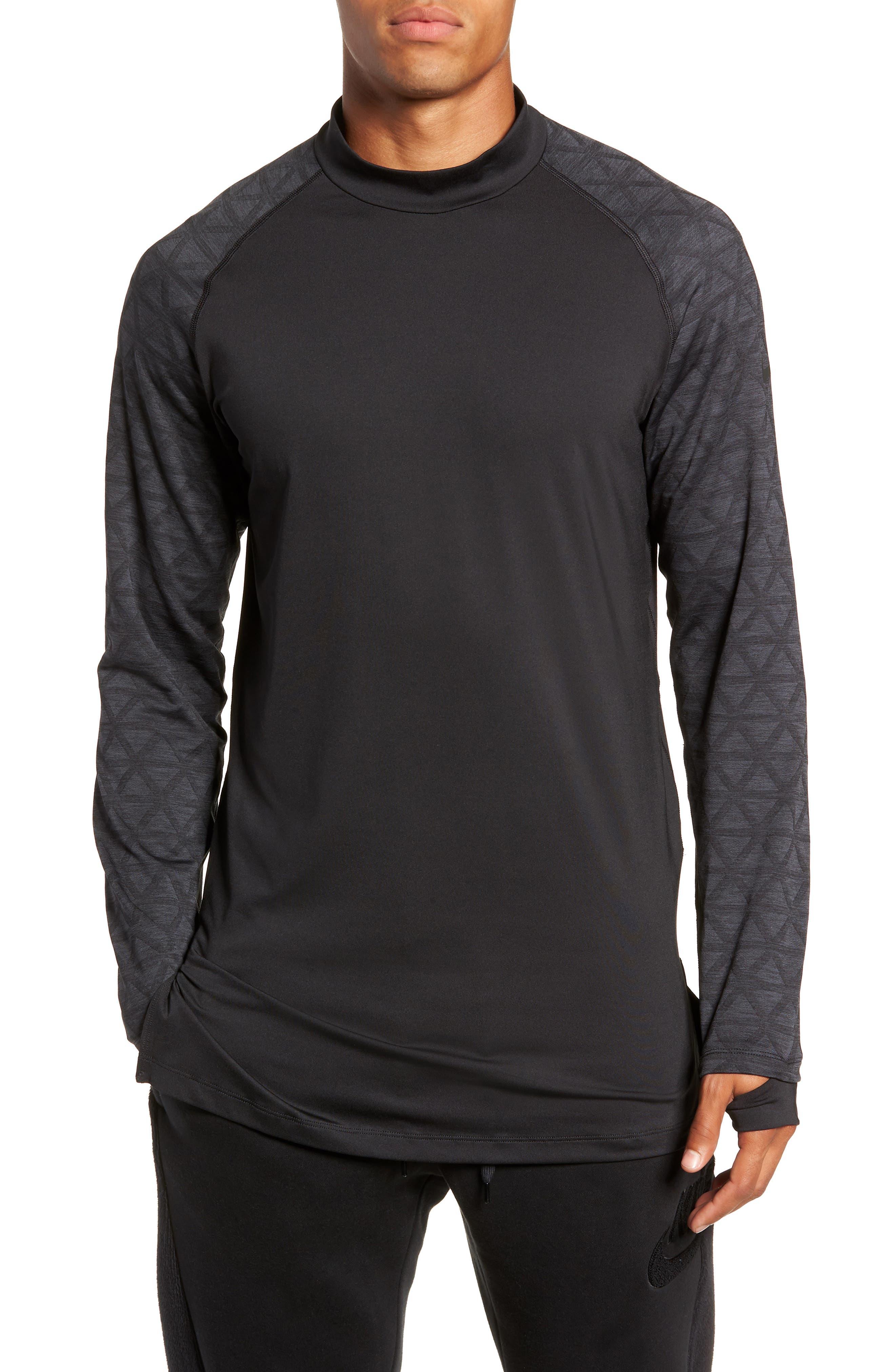 NIKE,                             Niko Pro Therma Long Sleeve Mock Neck T-Shirt,                             Main thumbnail 1, color,                             010
