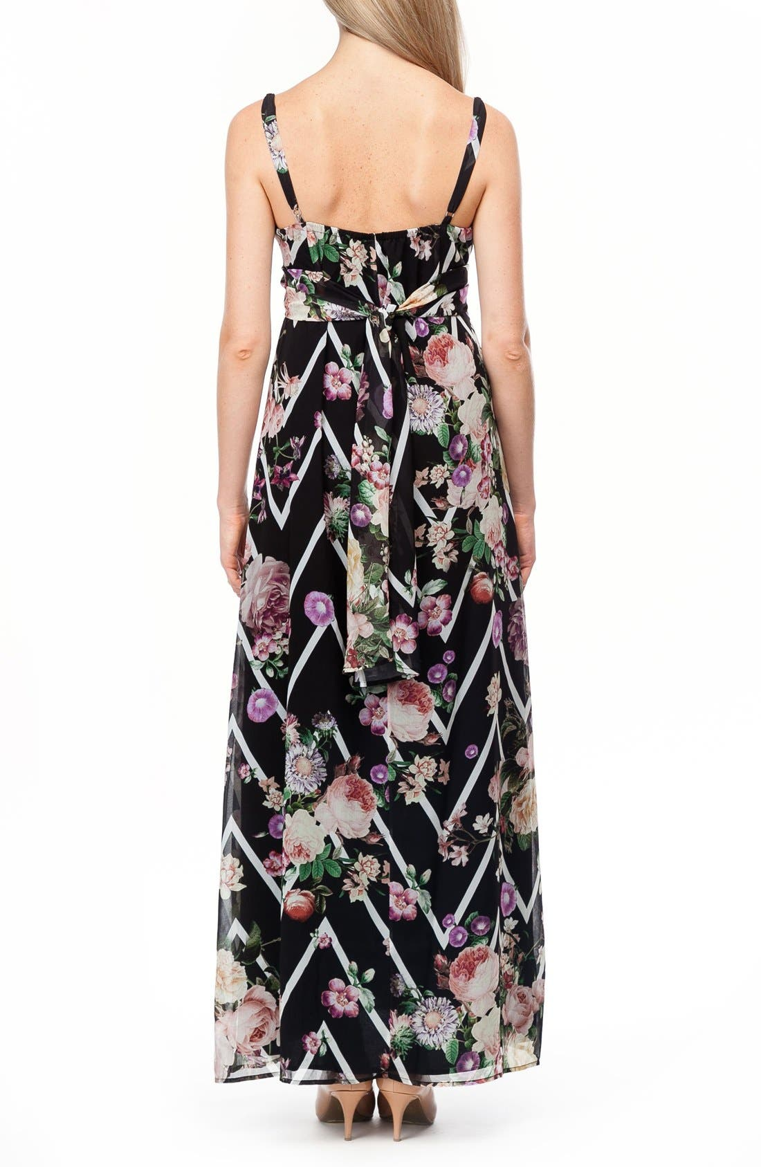 Murano Maternity Maxi Dress,                             Alternate thumbnail 5, color,                             FLOWER ZIGZAG