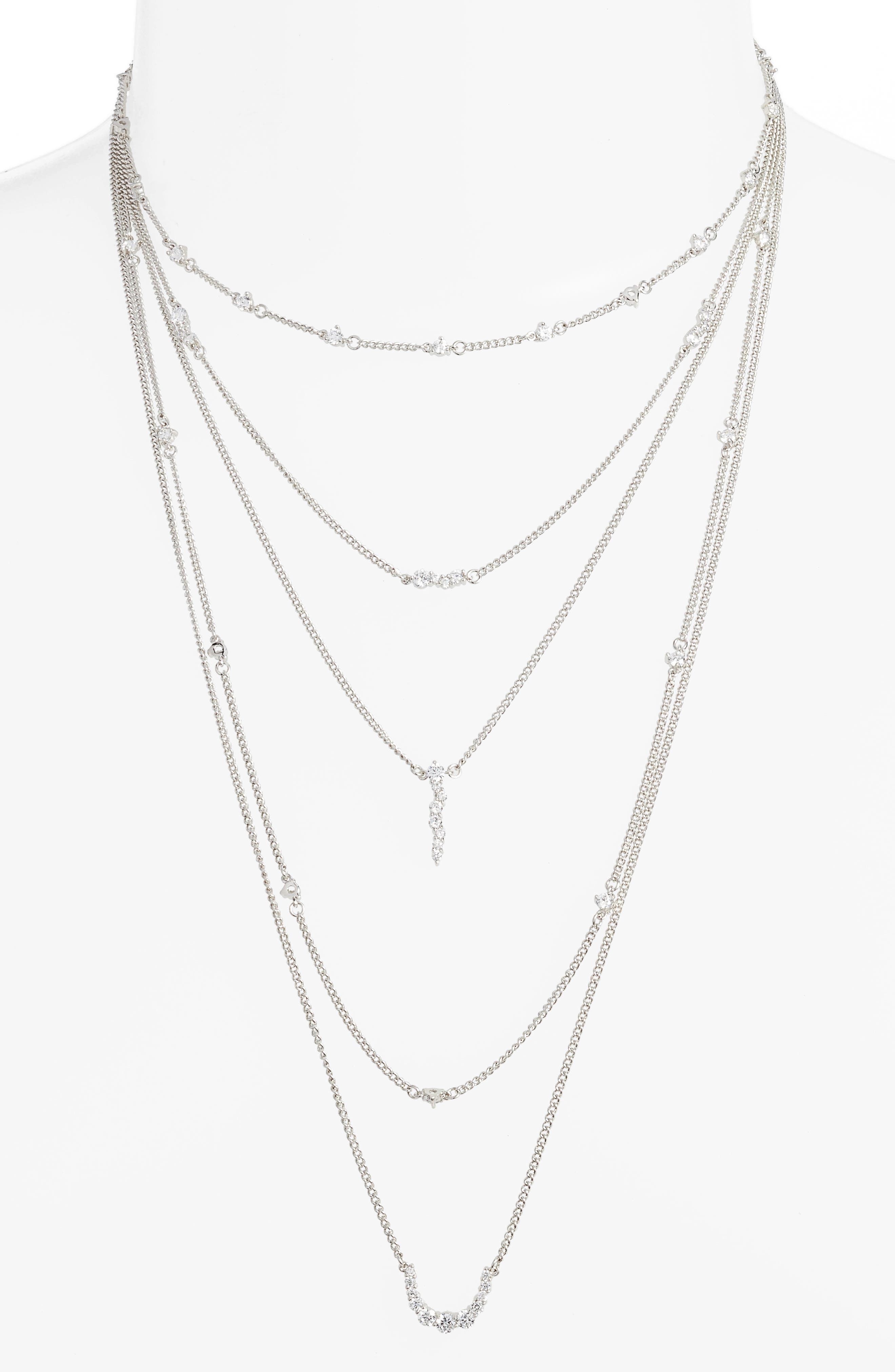 Sterling Silver Faye Layered Necklace,                             Main thumbnail 1, color,                             SILVER