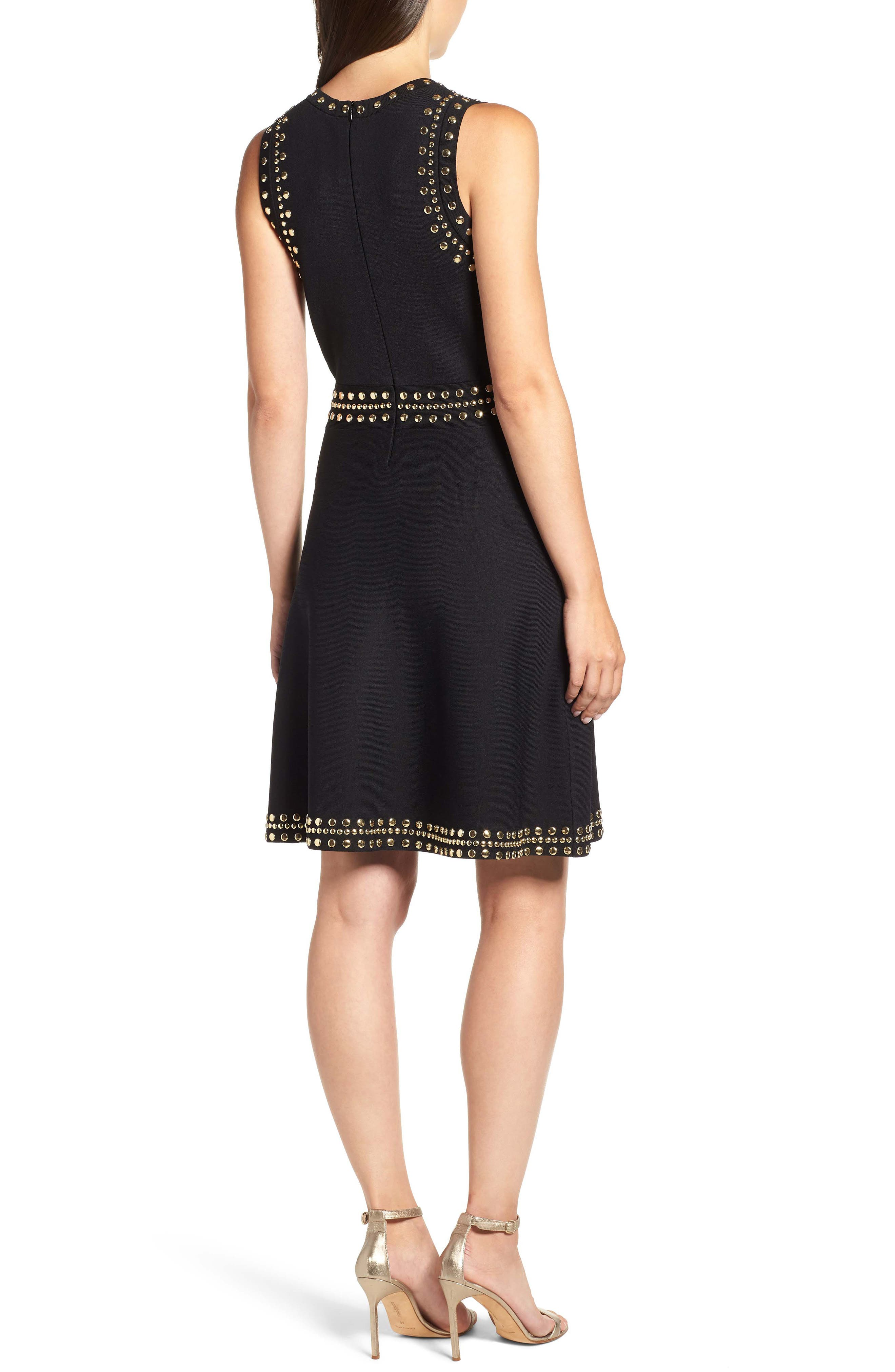 Studded Fit & Flare Dress,                             Alternate thumbnail 2, color,                             008