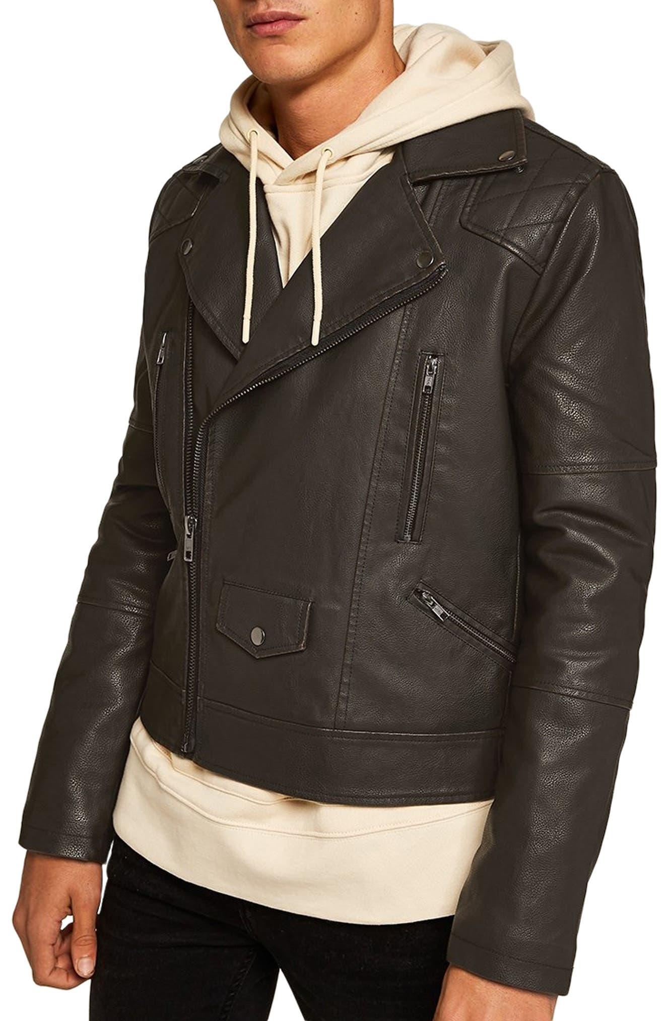Classic Fit Faux Leather Biker Jacket,                         Main,                         color, BLACK