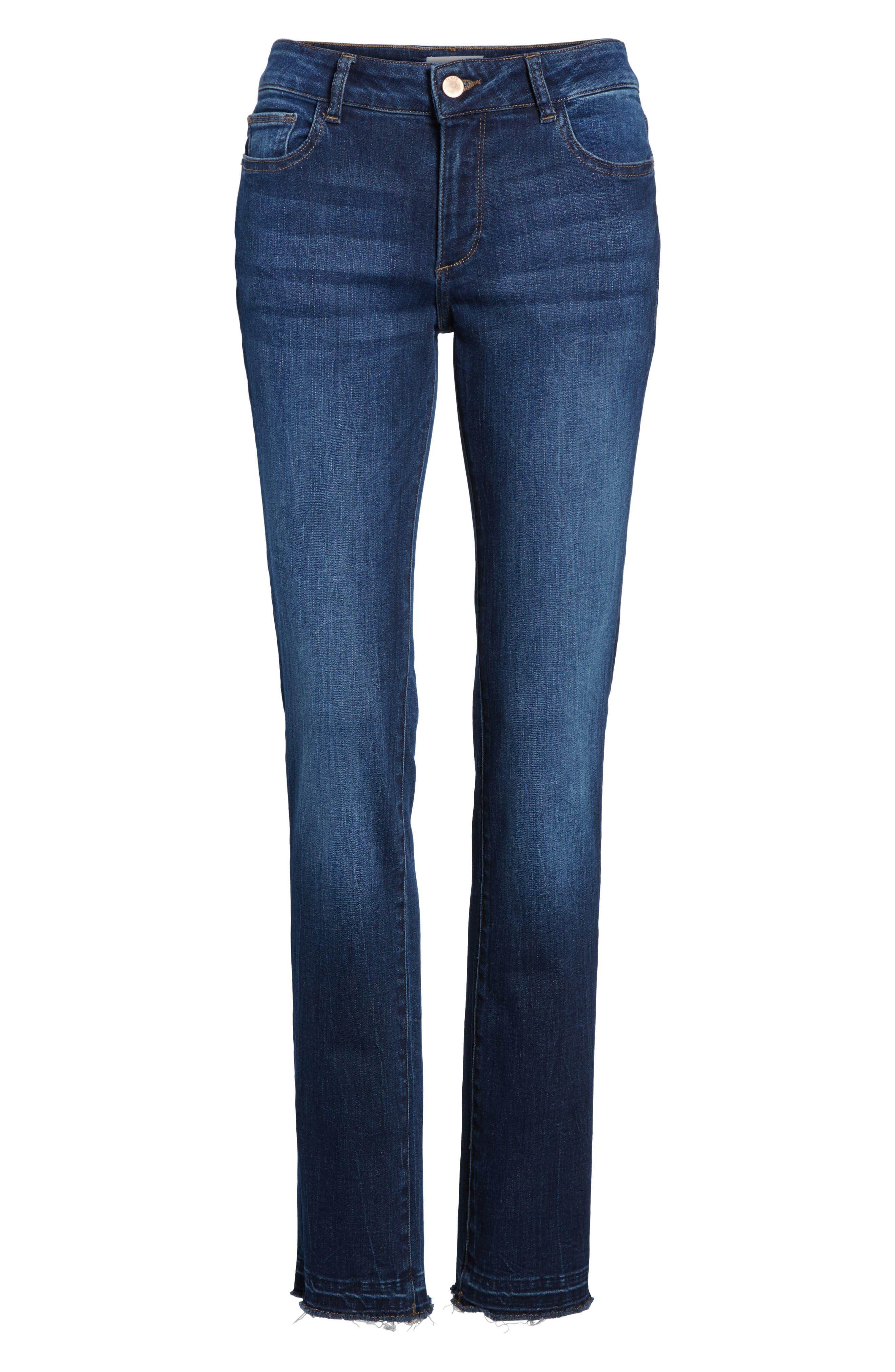Coco Curvy Slim Straight Leg Jeans,                             Alternate thumbnail 7, color,                             405
