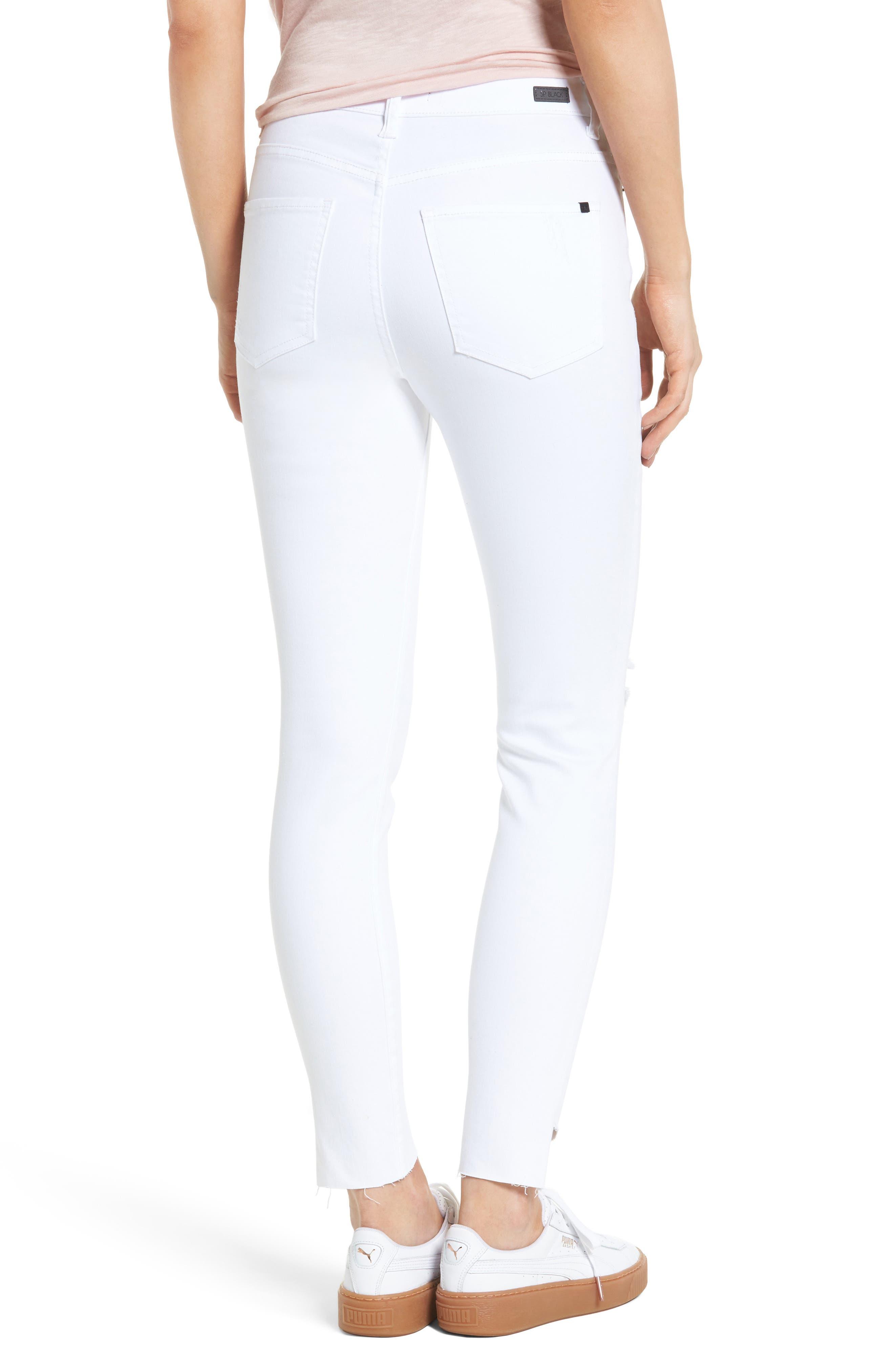 Angled Step Hem Skinny Jeans,                             Alternate thumbnail 2, color,                             100
