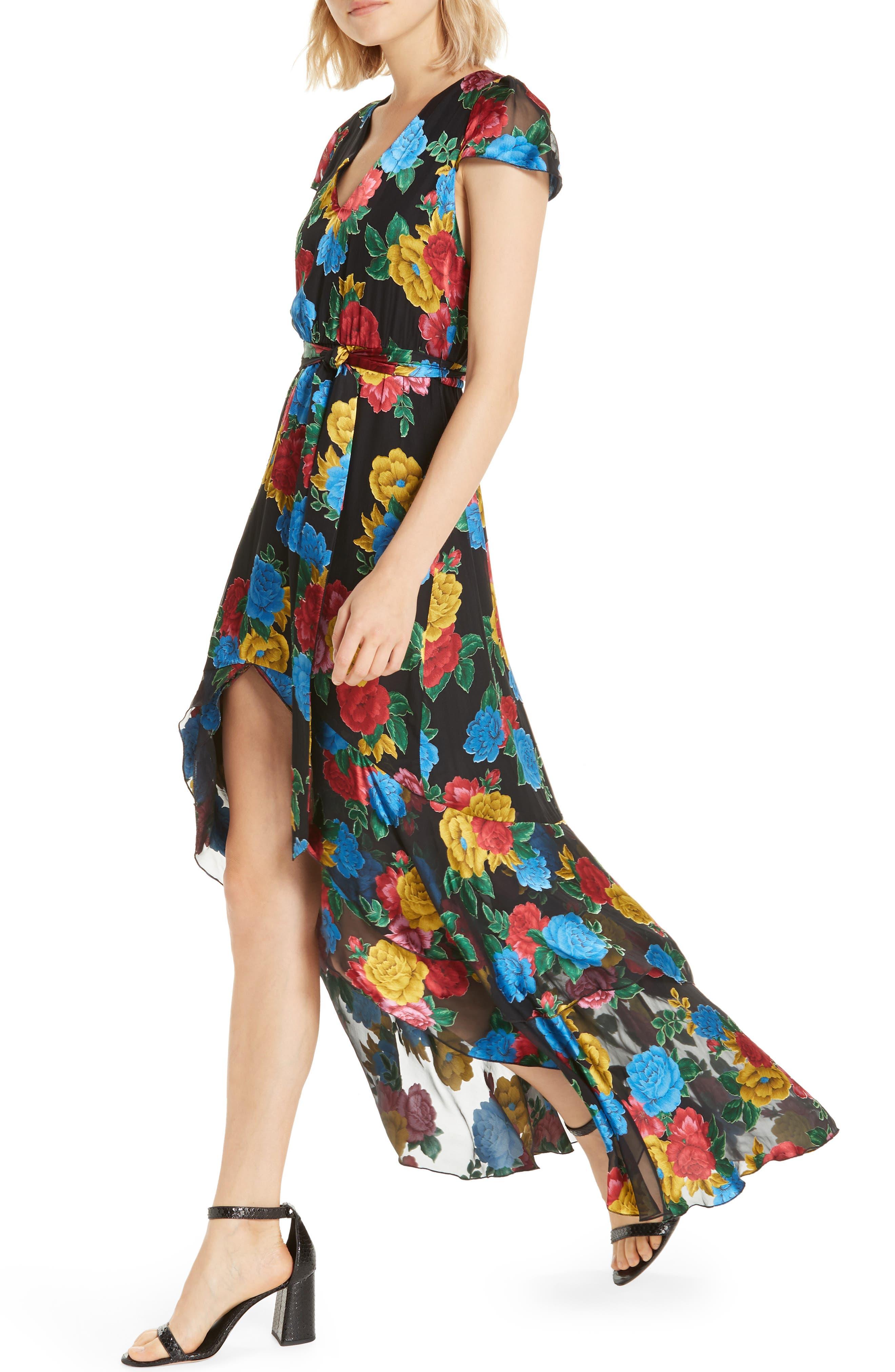Erika Ruffle High/Low Midi Dress,                             Alternate thumbnail 4, color,                             CAMELLIA BOUQUET BLACK/ MULTI
