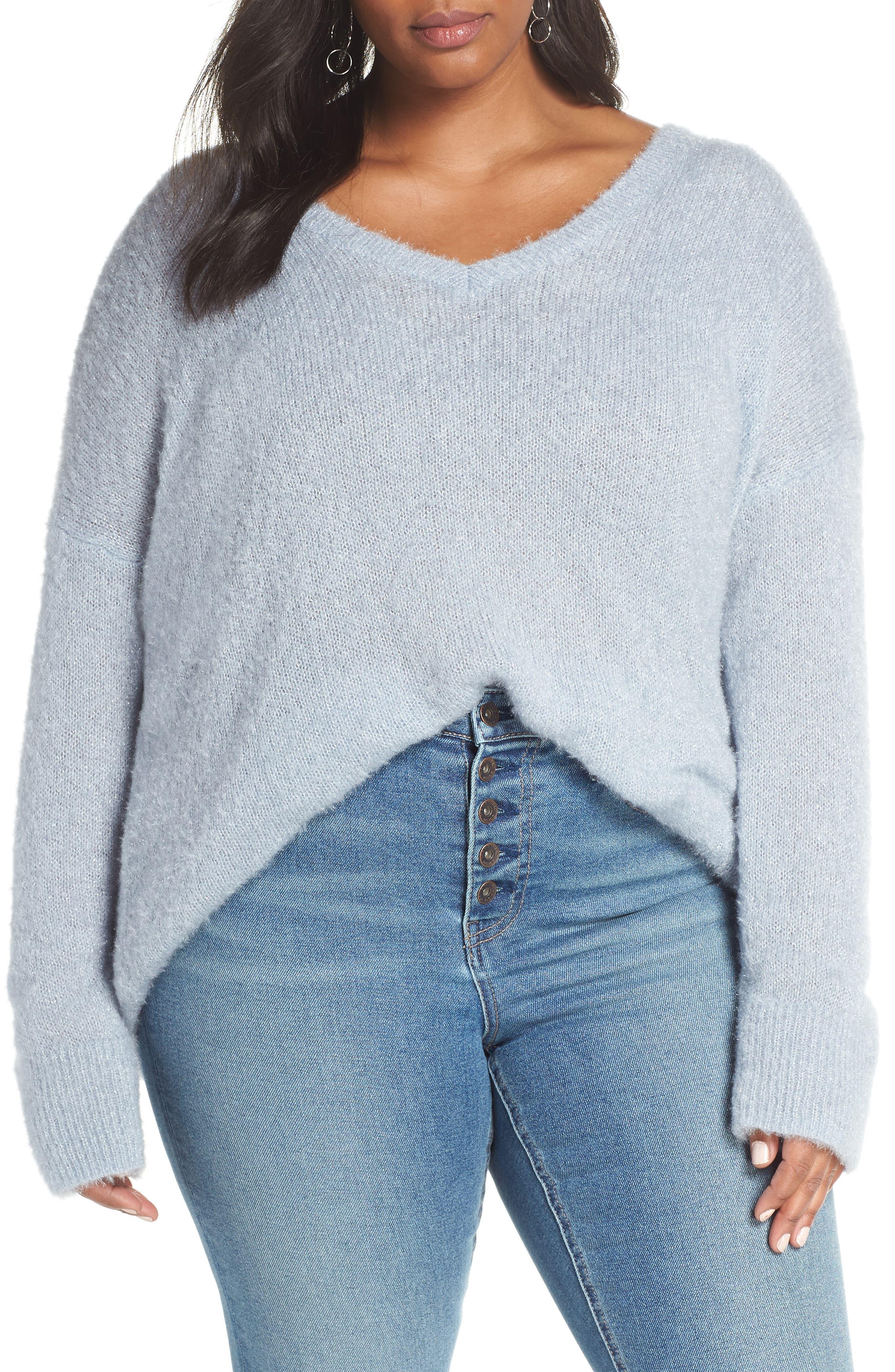 Fuzzy V-Neck Sweater,                         Main,                         color, BLUE FOG