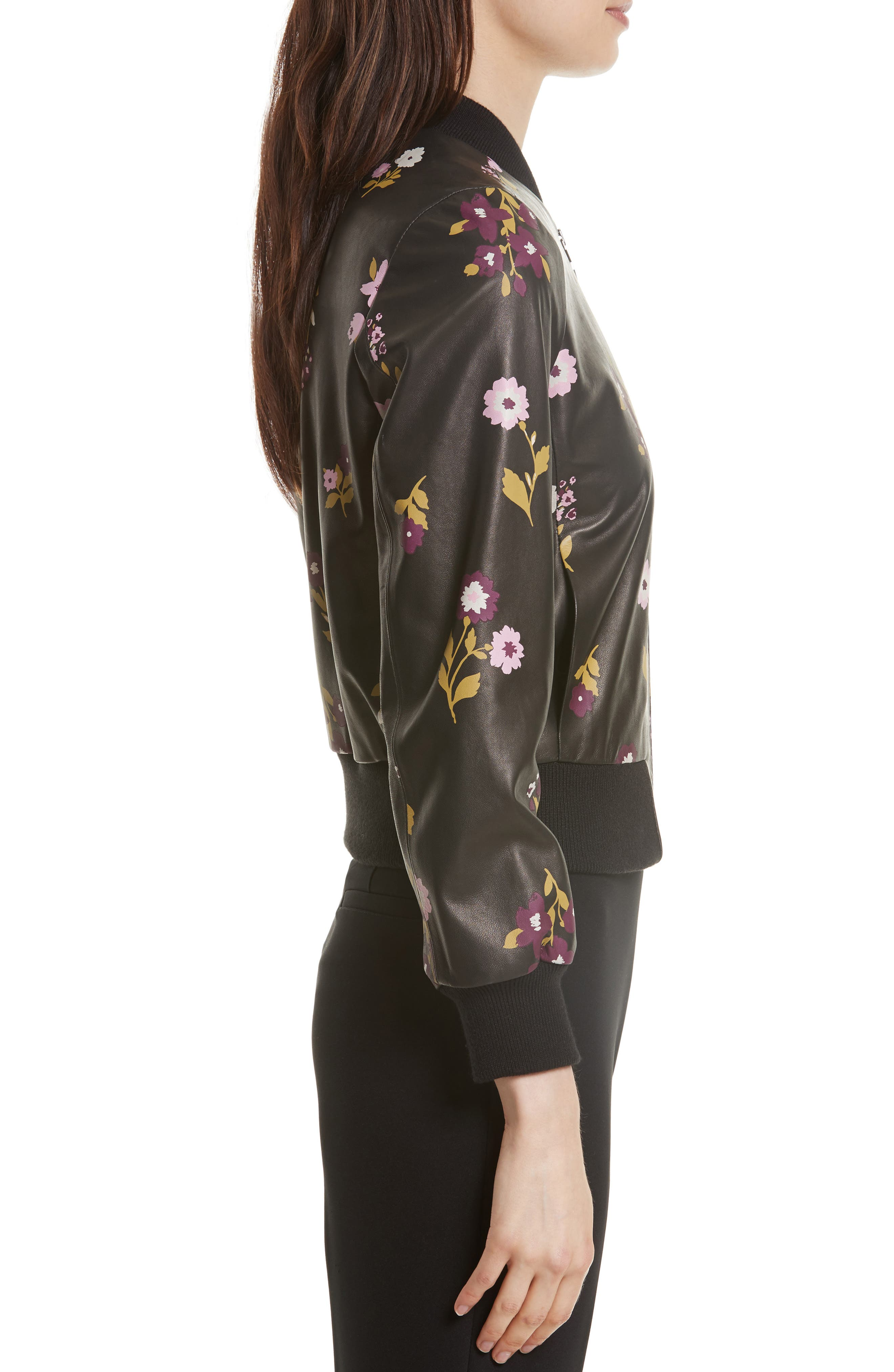in bloom leather bomber jacket,                             Alternate thumbnail 3, color,                             006