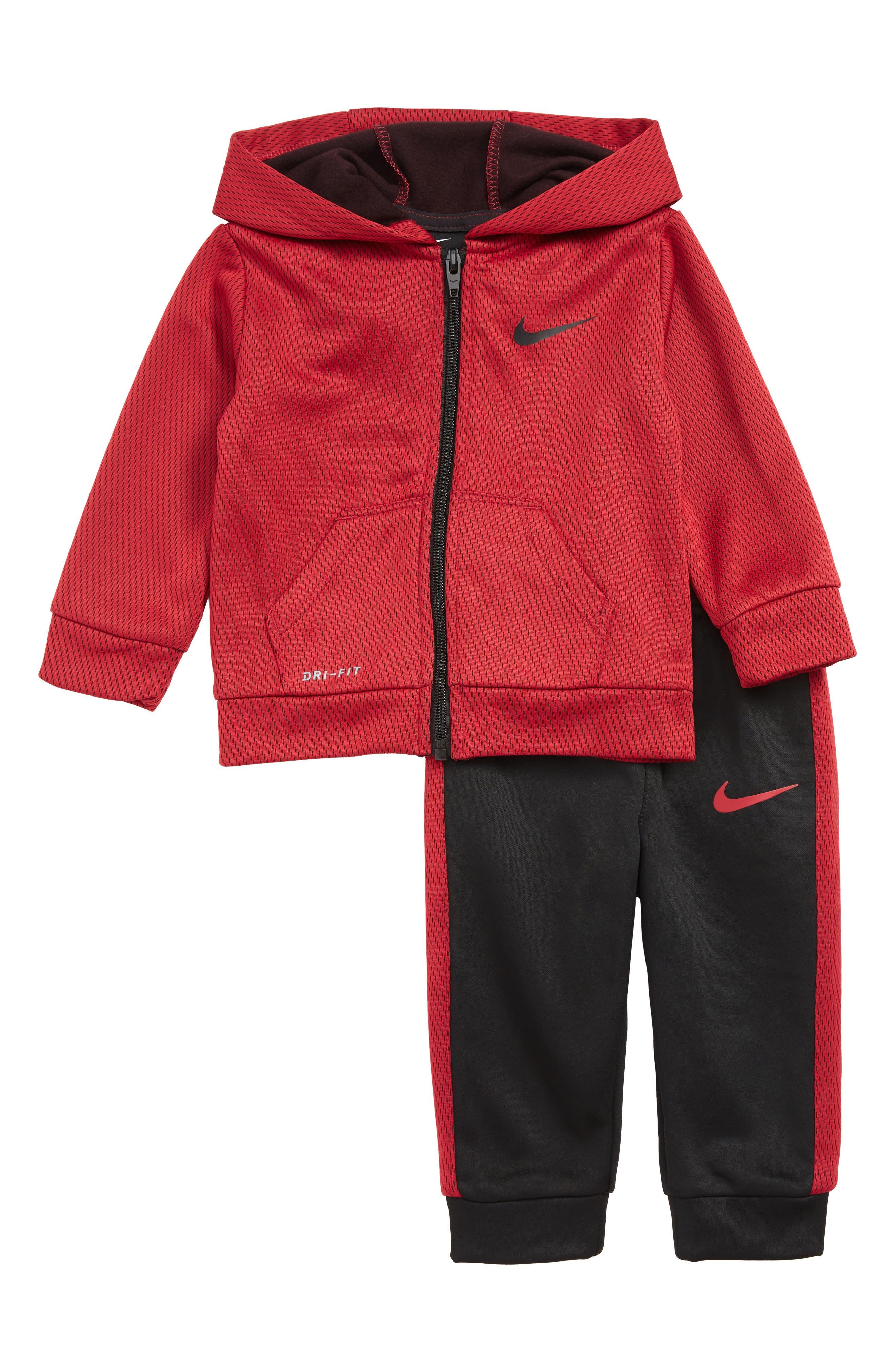 Dry Mesh Face Therma Full-Zip Hoodie & Sweatpants Set, Main, color, BLACK/ RED CRUSH