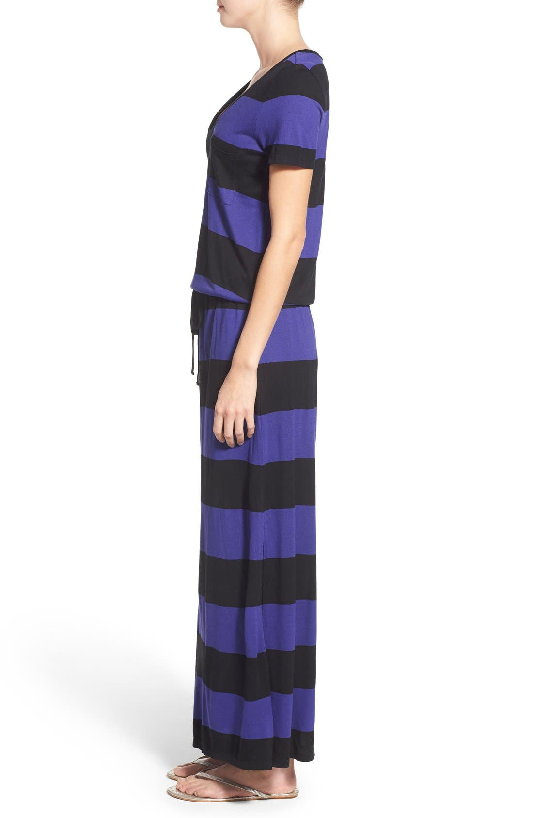 Drawstring V-Neck Jersey Maxi Dress,                             Alternate thumbnail 28, color,