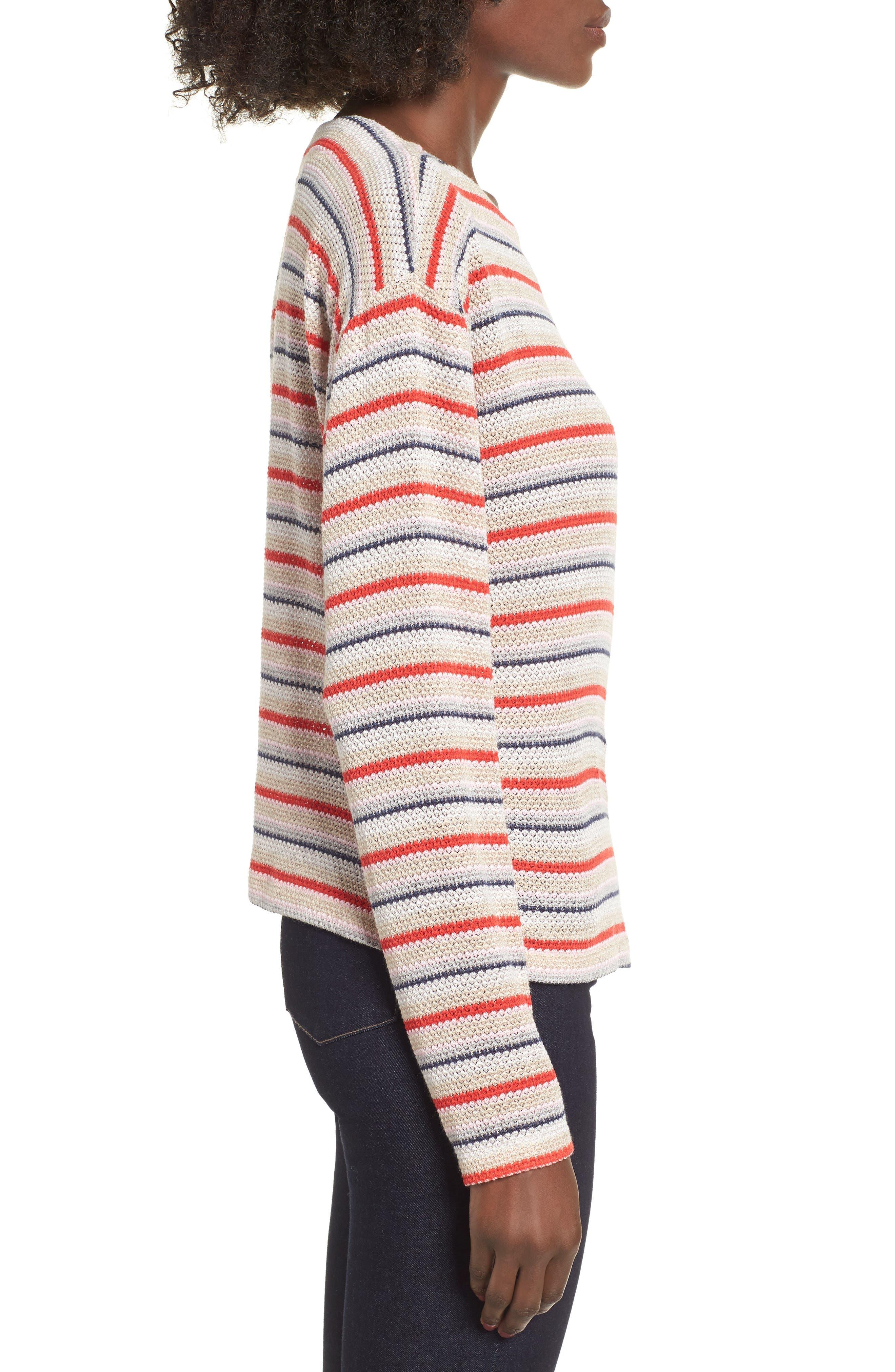 Stripe Knit Tee,                             Alternate thumbnail 3, color,                             RAINBOW